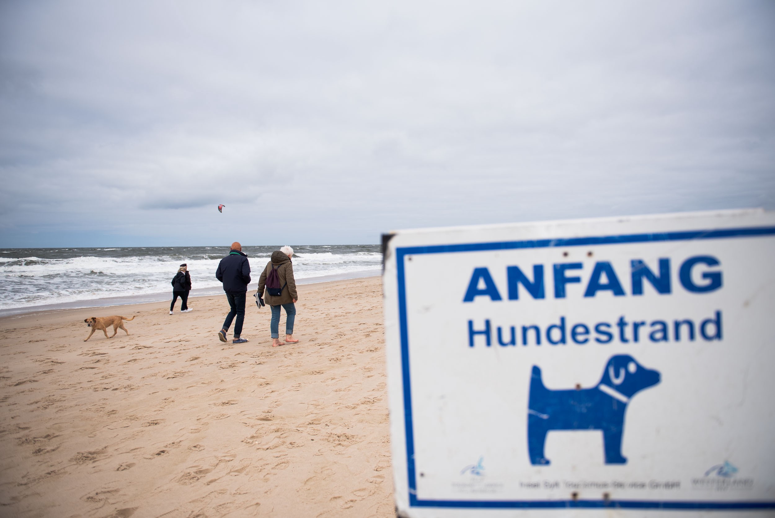 Mom and dad pass a sign that signals the beginning of the dog beach, as a dog walks in the opposite direction. GER, 05/2019