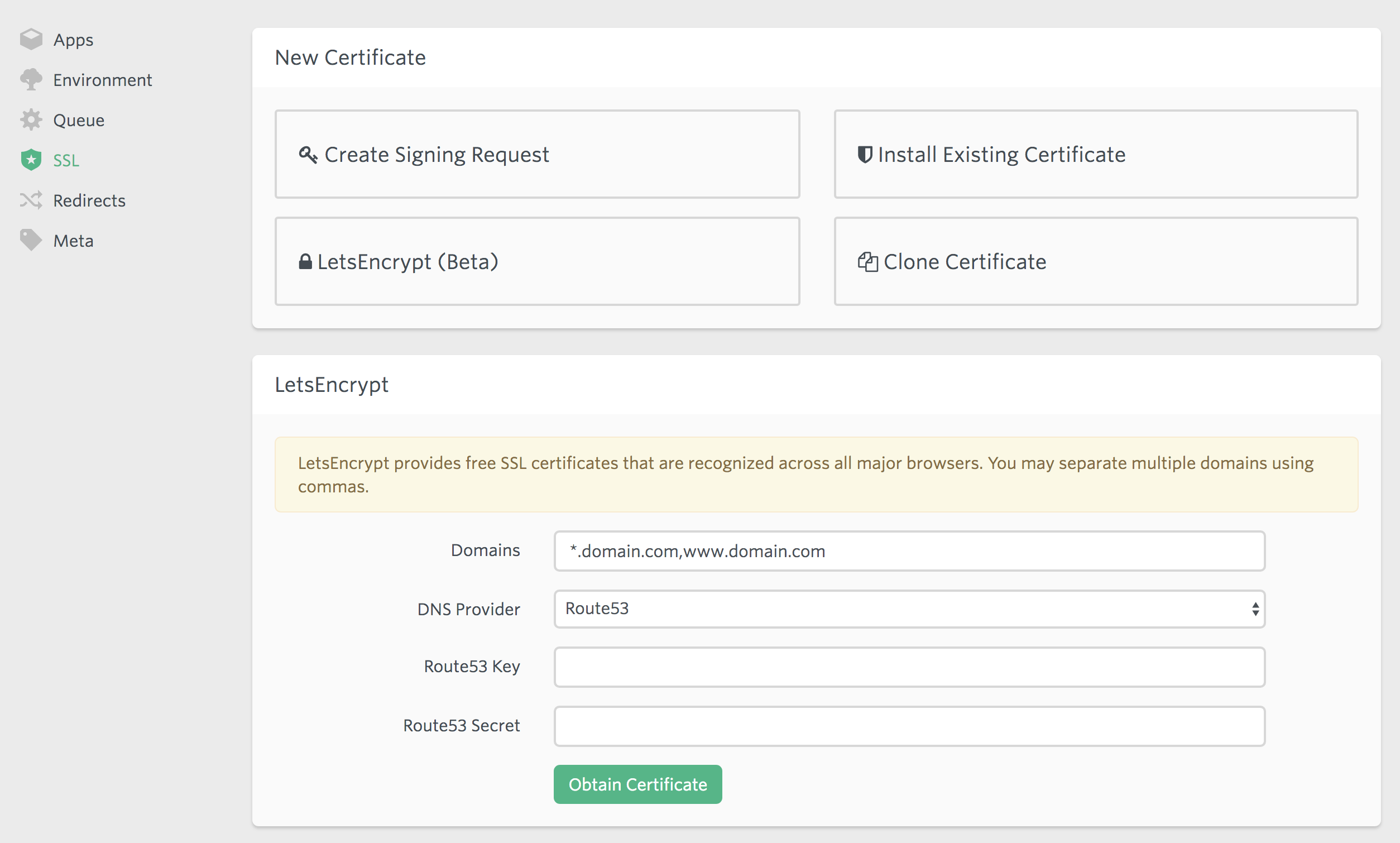 Wildcard LetsEncrypt Certificates on Forge - Taylor Otwell