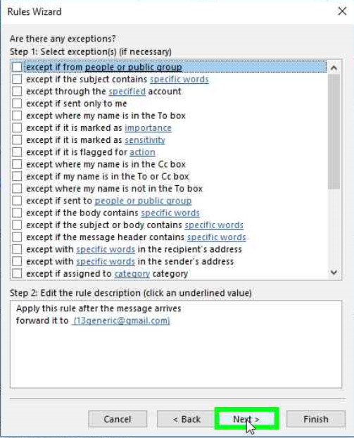 Outlook rules wizard exceptions