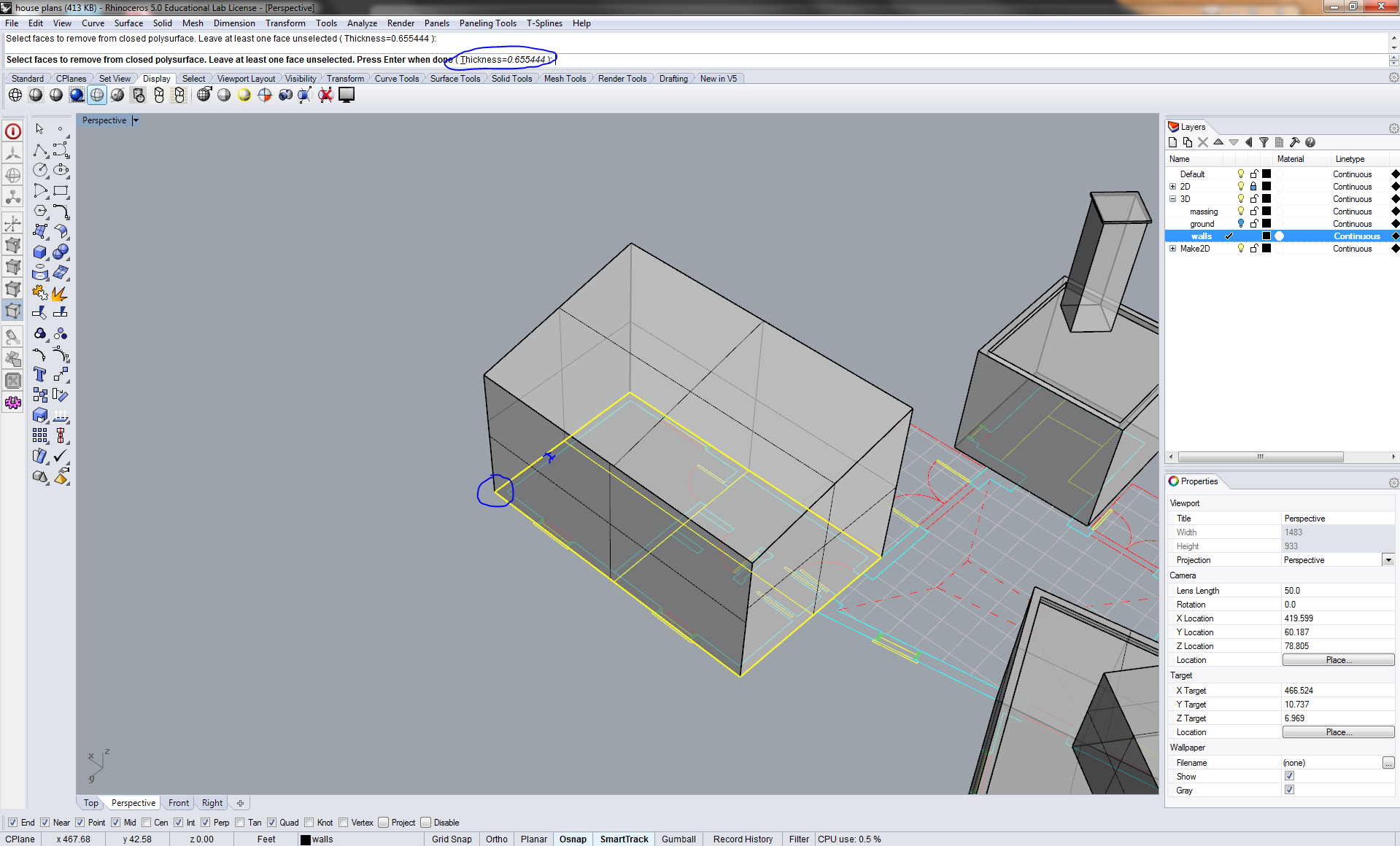 Rhino 3D Modeling Tutorial: Shelling and Changing Ceiling