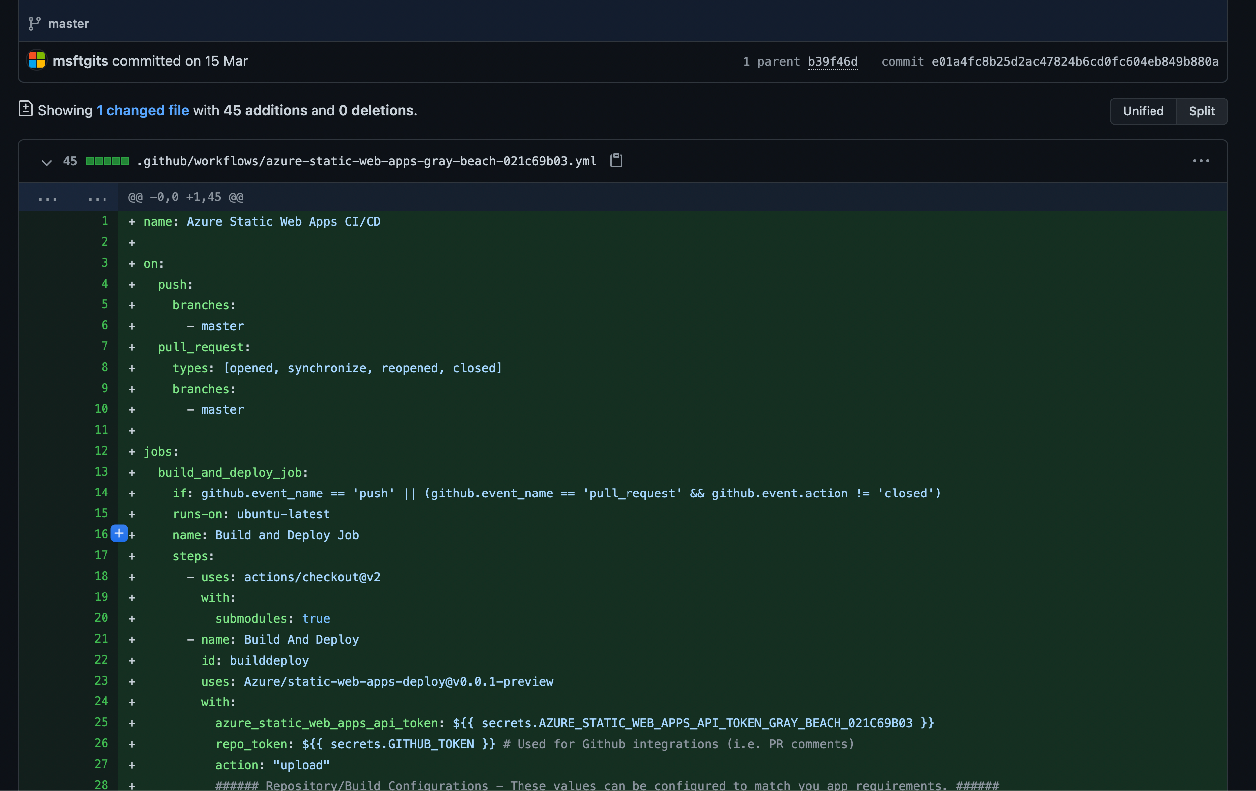 Screenshot showing the committed GitHub Actions workflow File