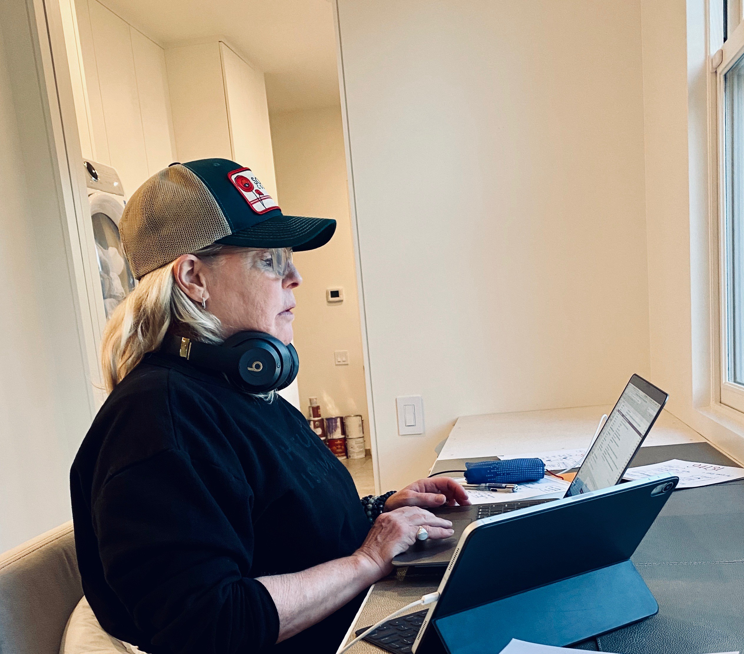 Amy Errett, co-founder and CEO of Madison Reed subscription hair color works from her laptop at home.