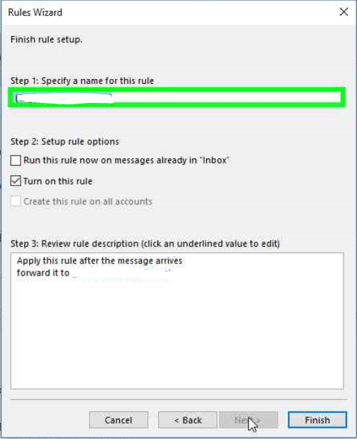 Outlook rules wizard finish setup