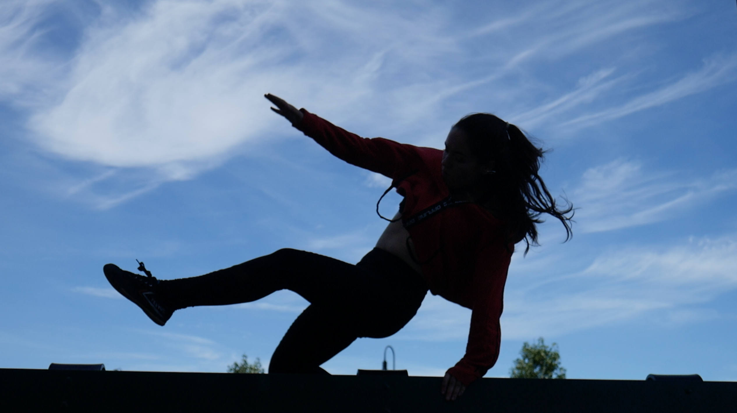 A woman does a speed vault, silhouetted against the sky