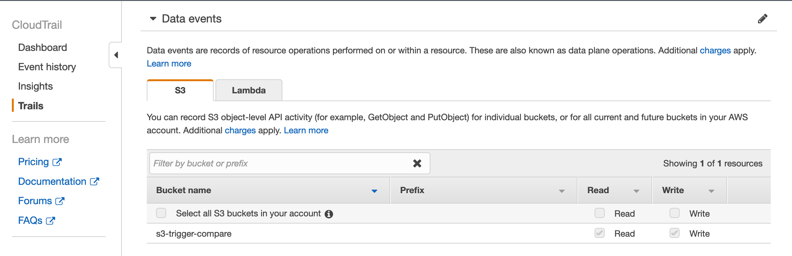 The AWS Console CloudTrail section allows us to configure data events for all or specific buckets.