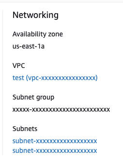 RDS Instance Networking in AWS Console