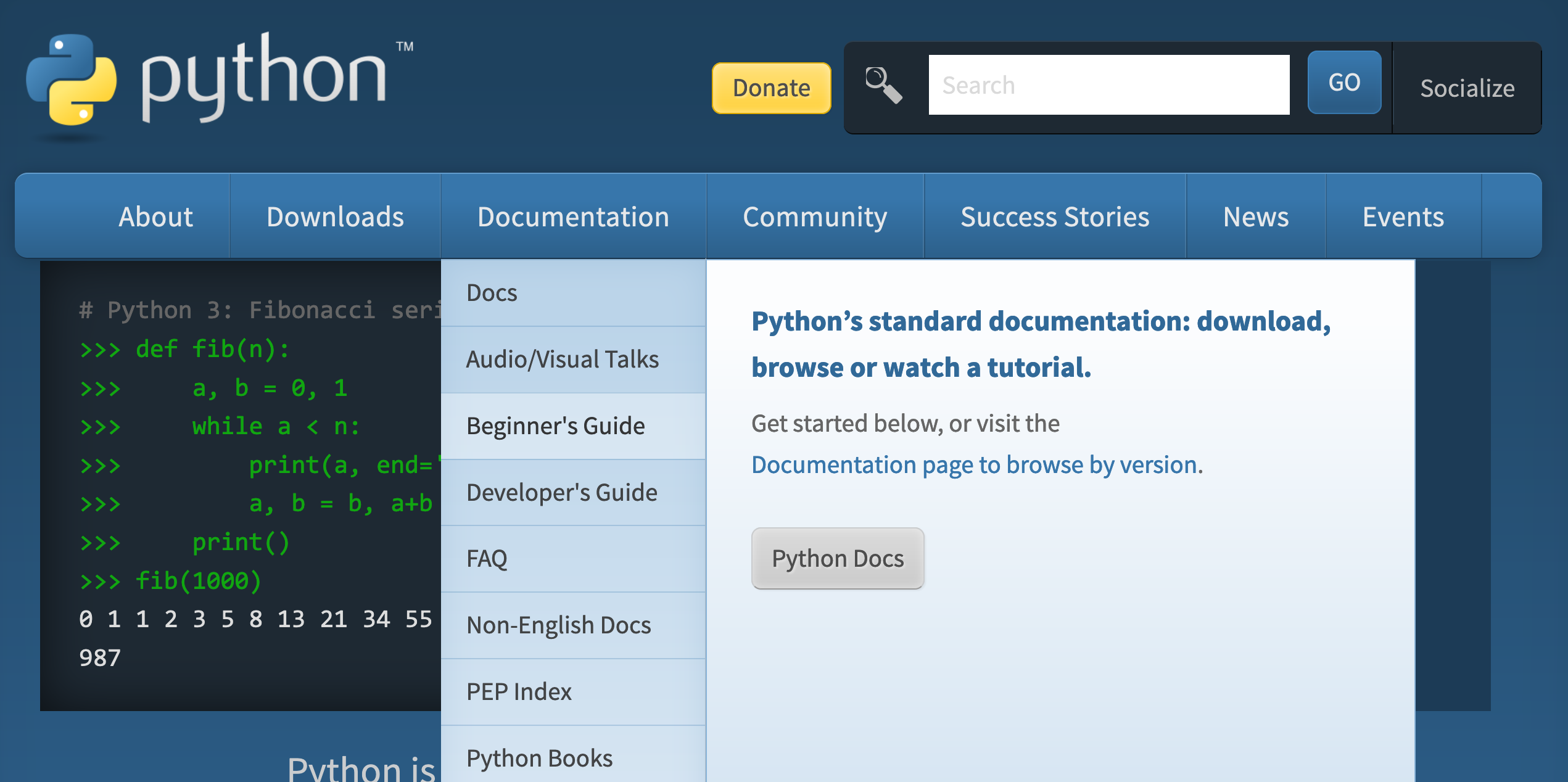 Screenshot of the offical Python website showing the Beginner's Guide link under the Documentation tab in the Navigation Bar.