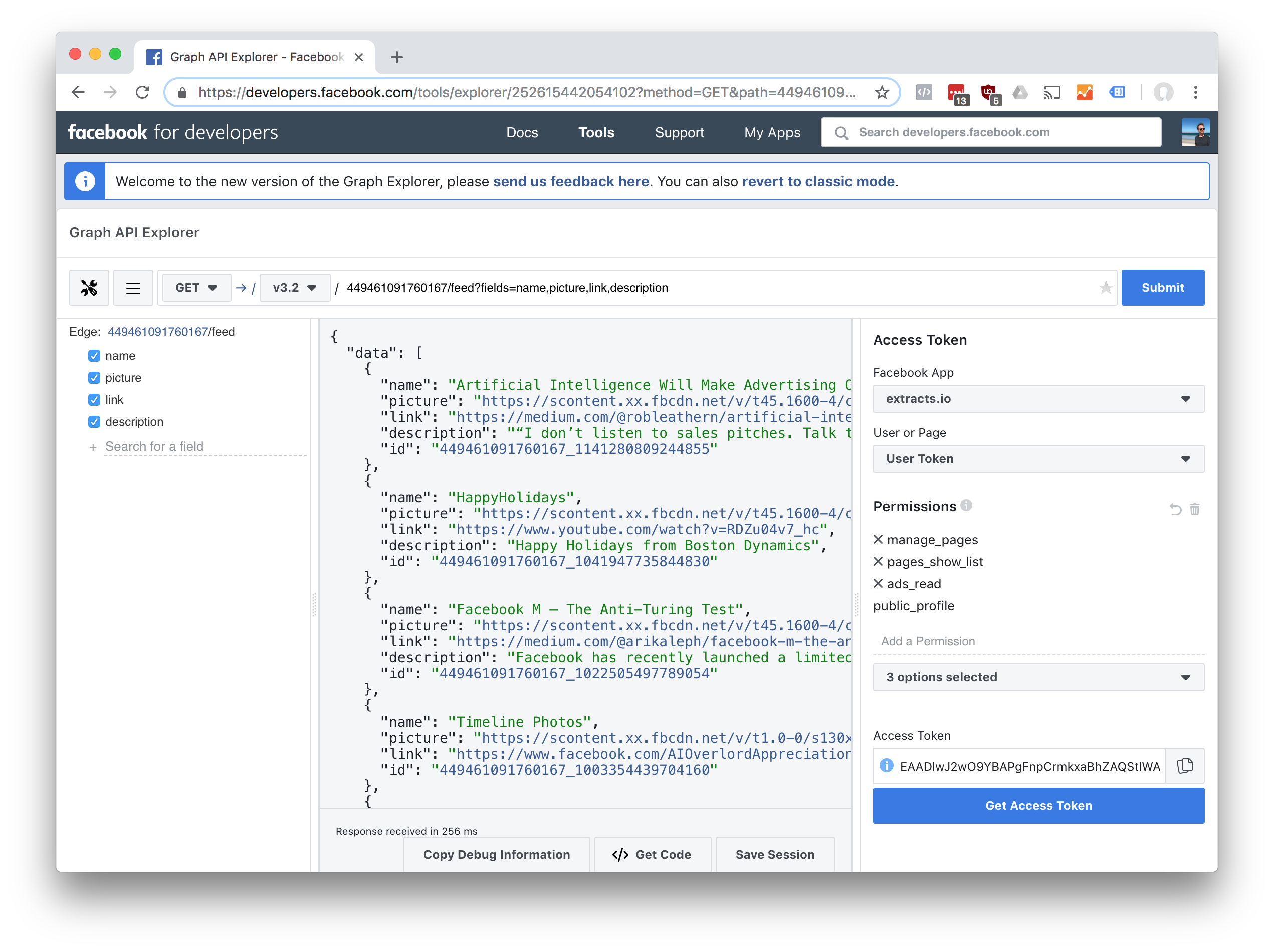 Turn any Facebook Graph API call into CSV - extracts io