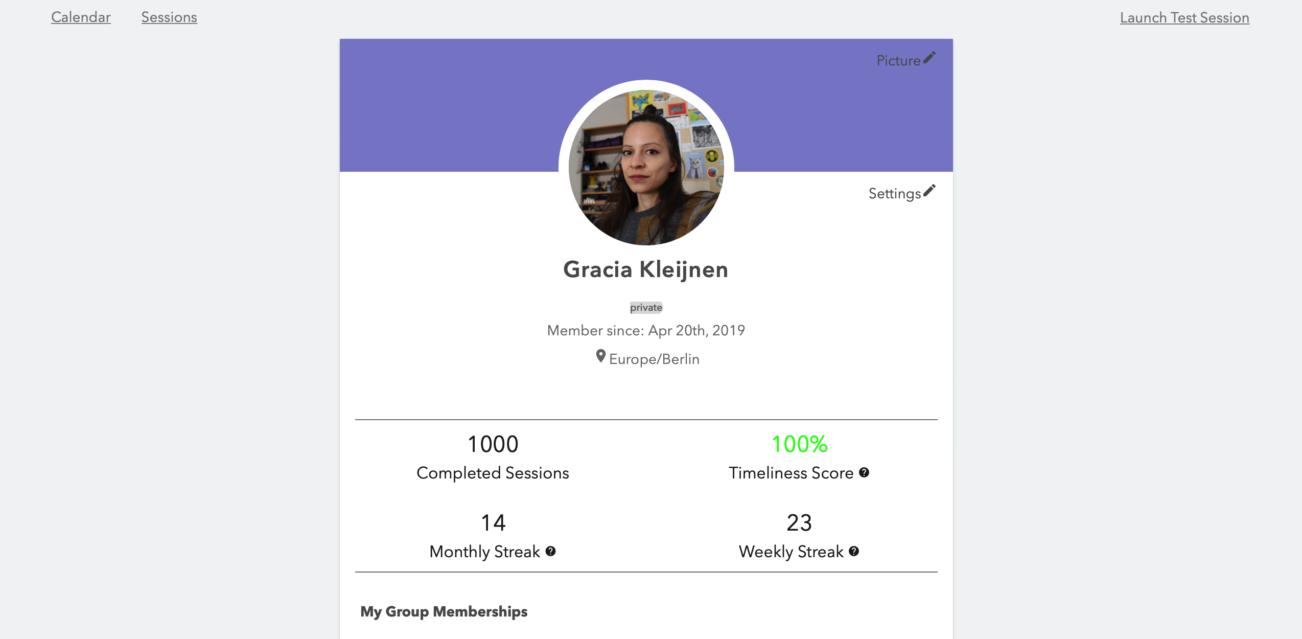 Focusmate profile showing pic & stats: 1K completed sessions, timeliness score: 100%, monthly streak: 14, weekly streak: 23.