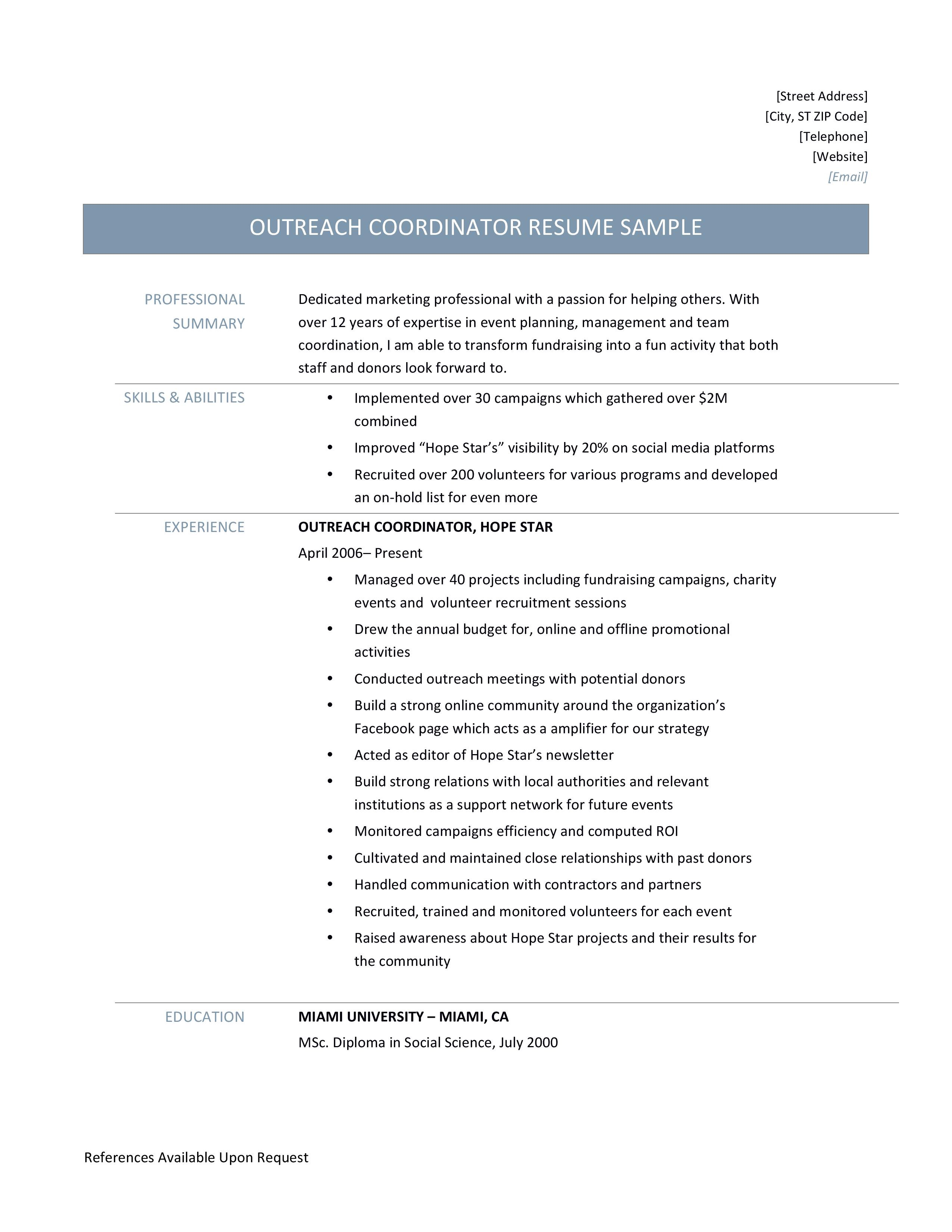 Outreach Coordinator Resume Samples Tips And Template By Online