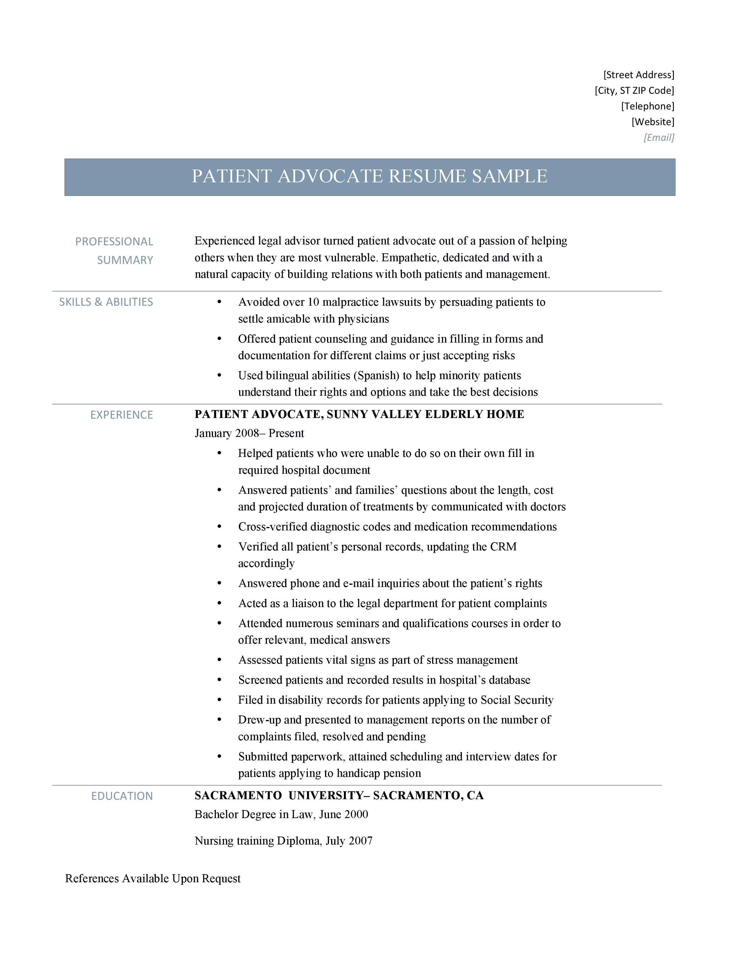 patient advocate resume samples tips and templates