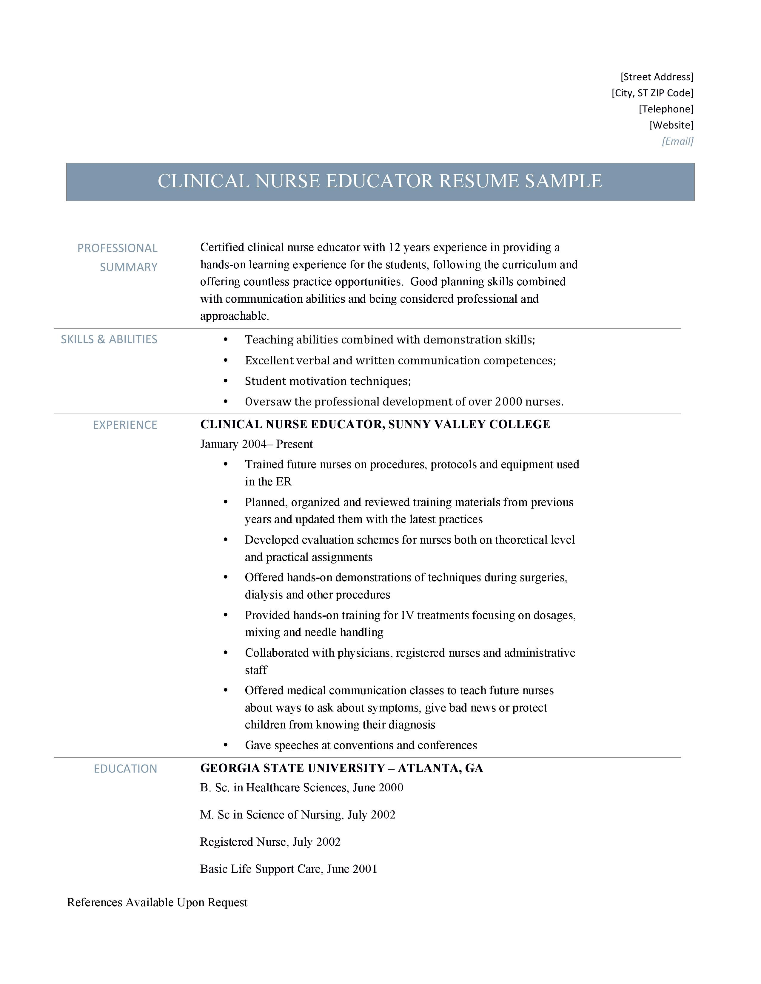 Clinical Nurse Educator Resume And Template By Online Resume