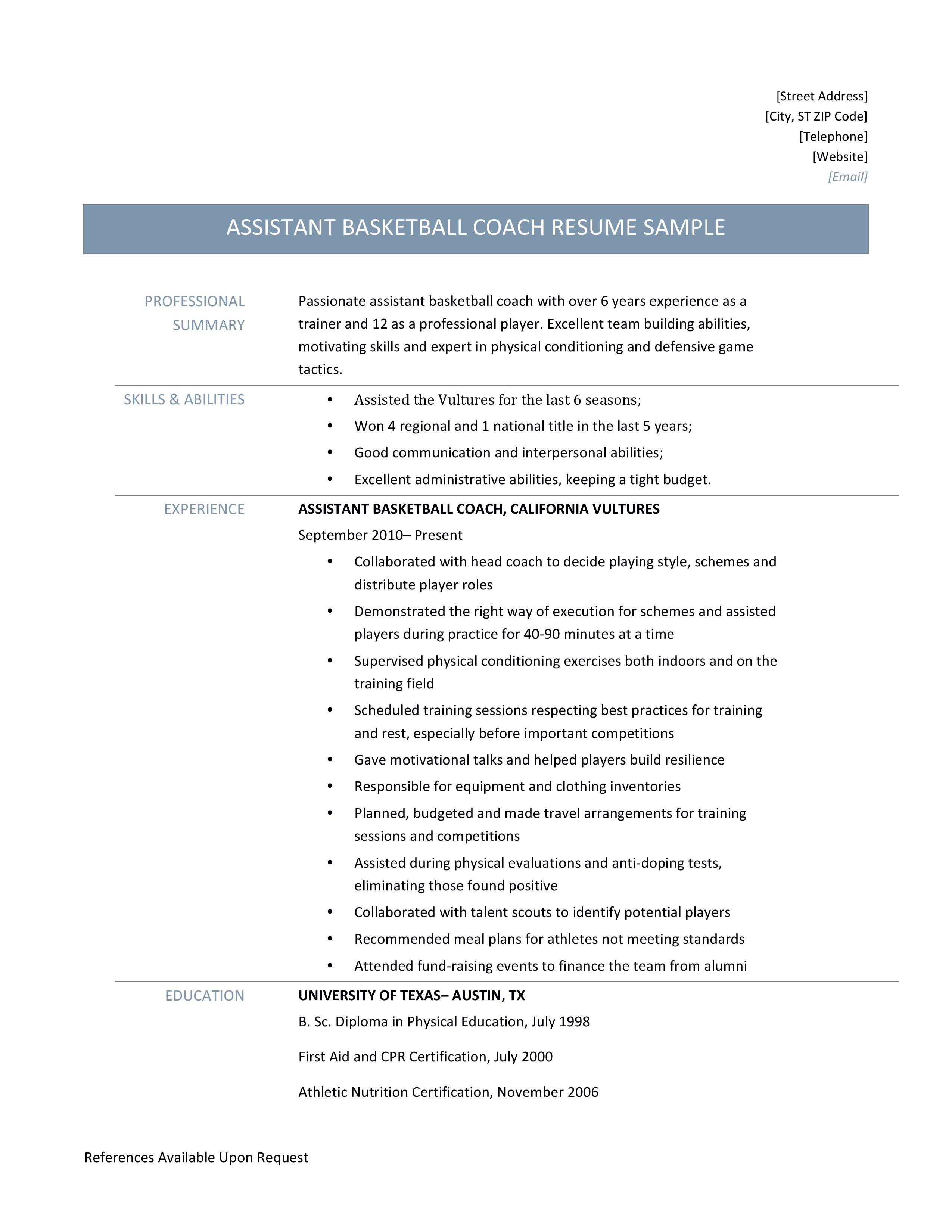 assistant basketball coach resume samples and job
