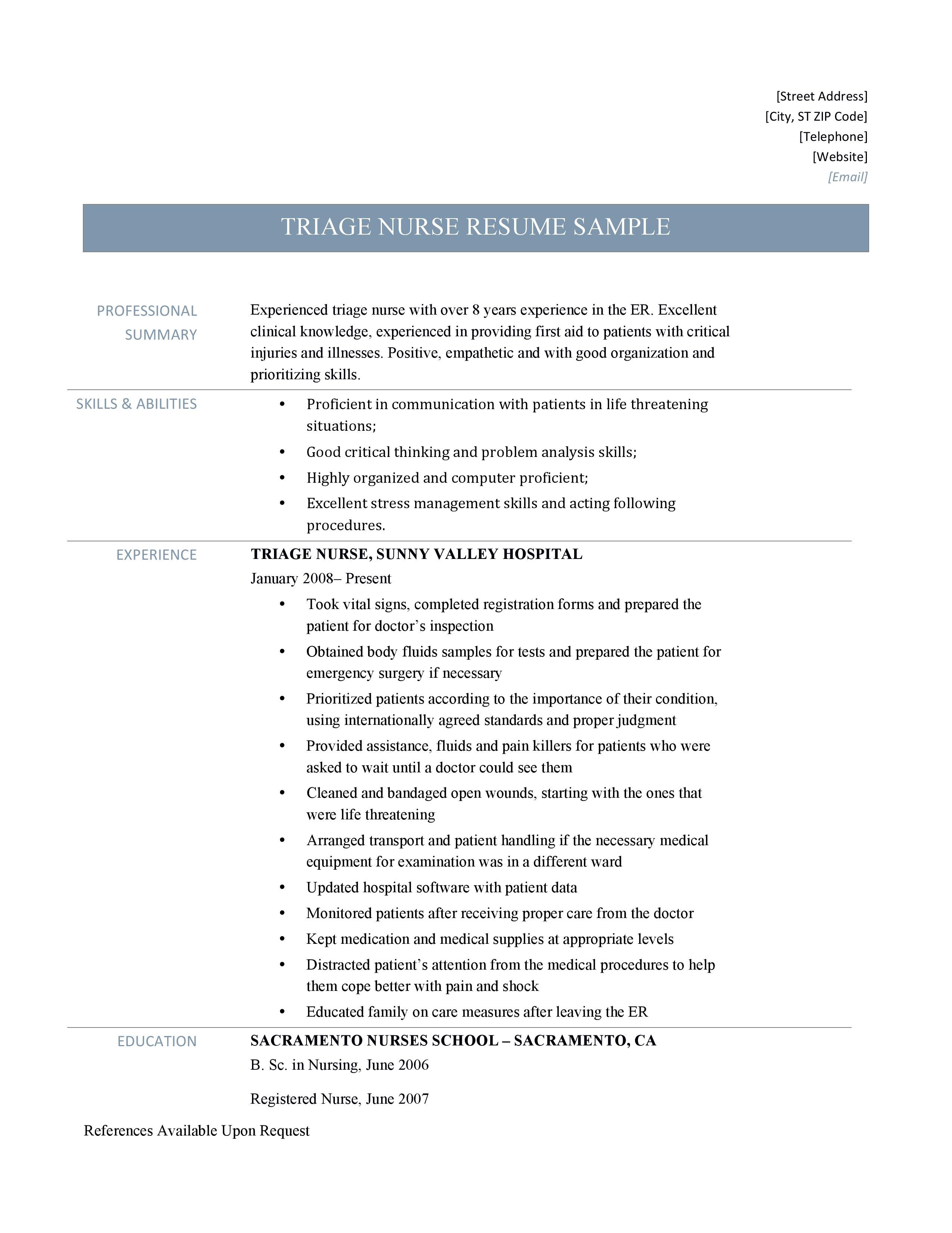 Triage Nurse Resume Sample And Job Description By Online Resume