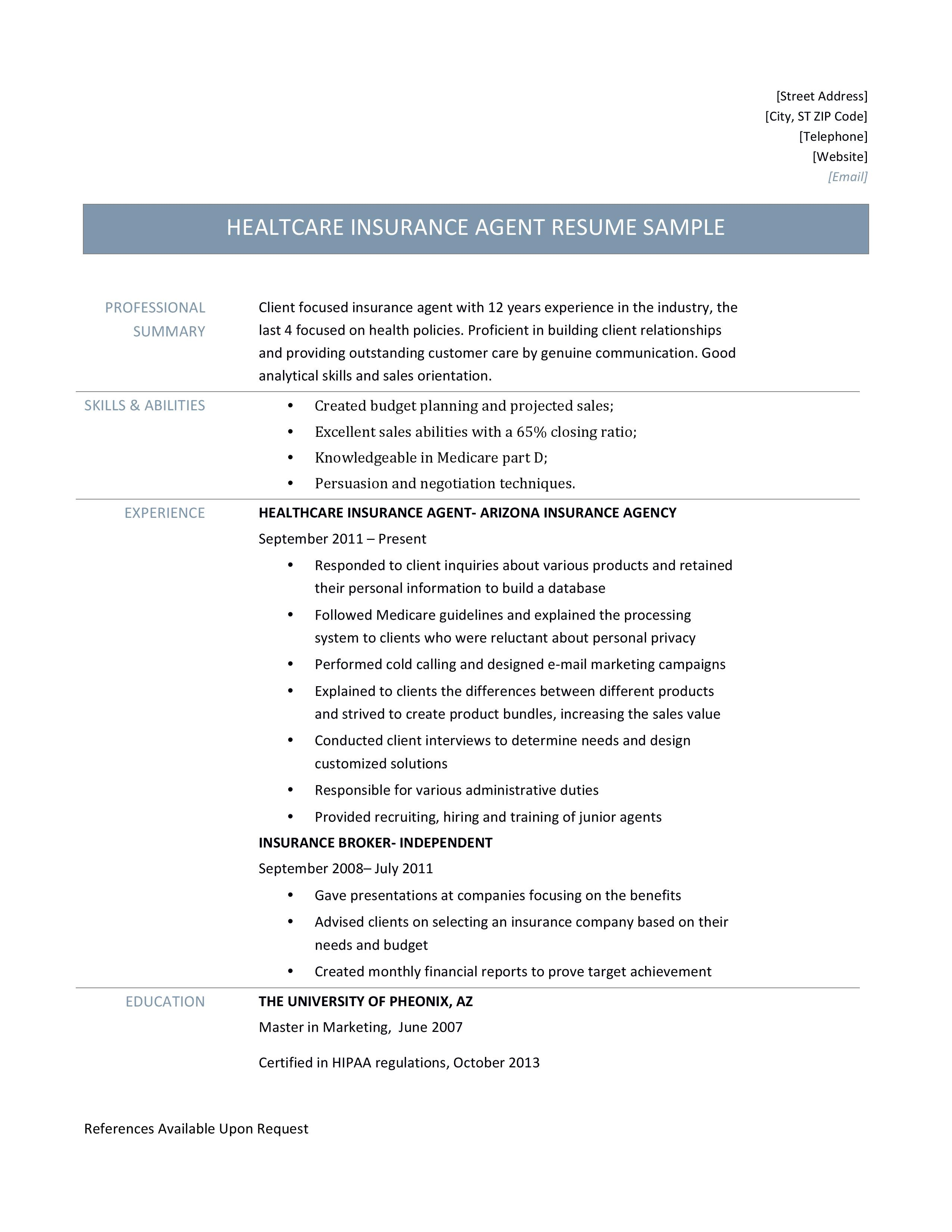 Health Insurance Agent Resume Samples and Job Description