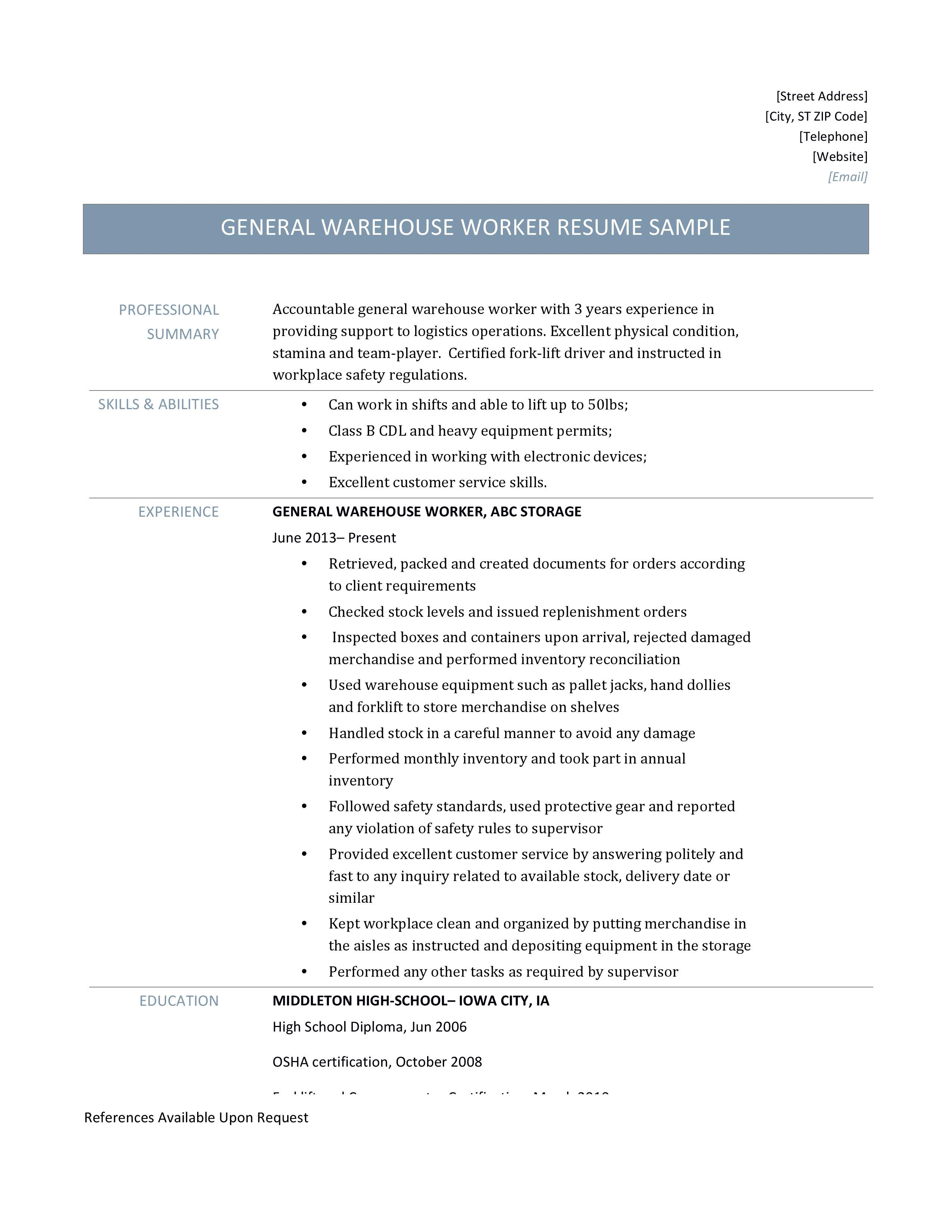 General Warehouse Worker Resume Samples And Job Description By