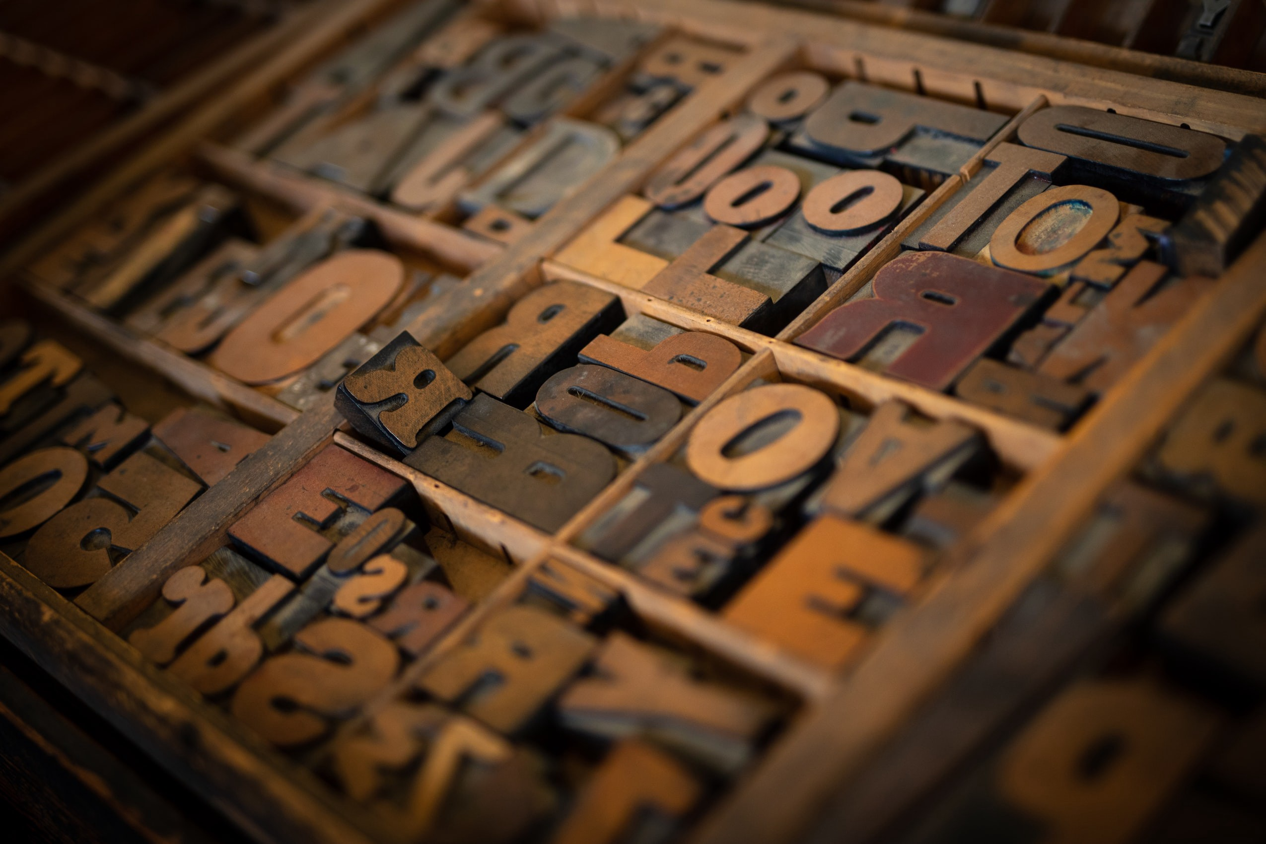 Antique letterpress letter blocks