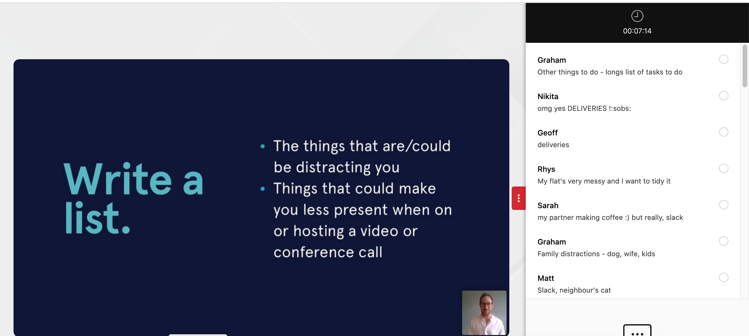 Screenshot of a webinar, showing slide and chat function