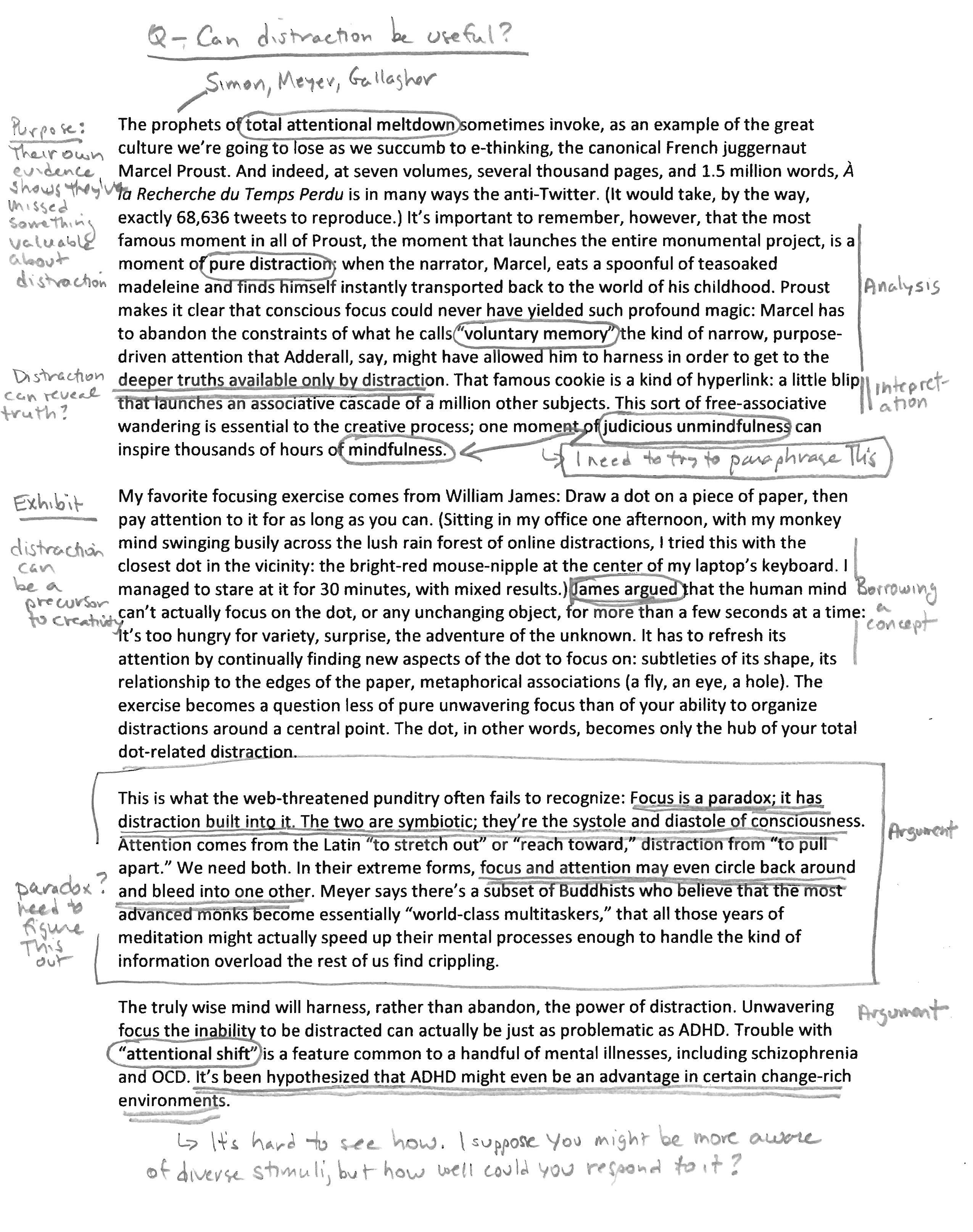 Photo of a reading with a lot of annotations