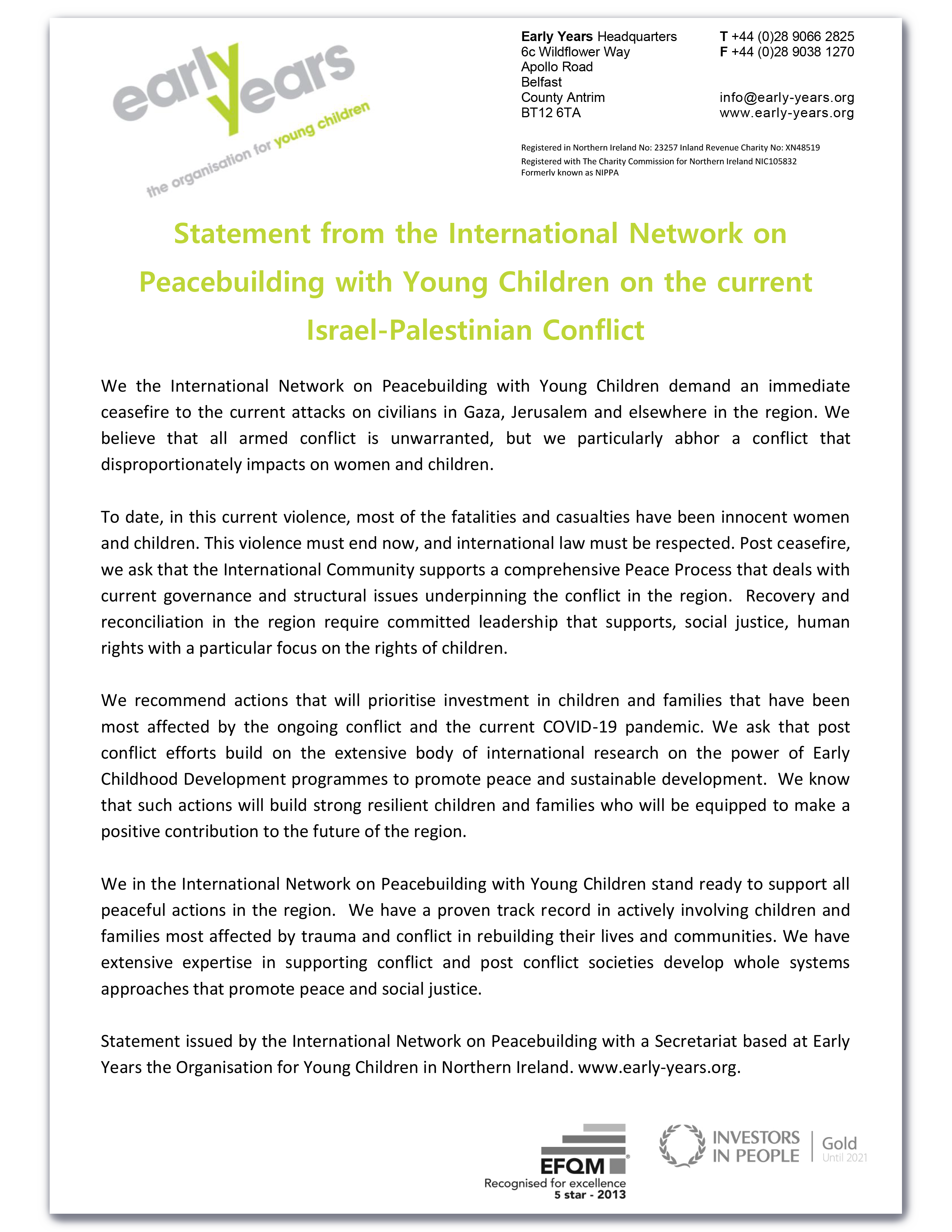 Statement from the International Network on Peacebuilding with Young Children on the current Israel-Palestine Conflict
