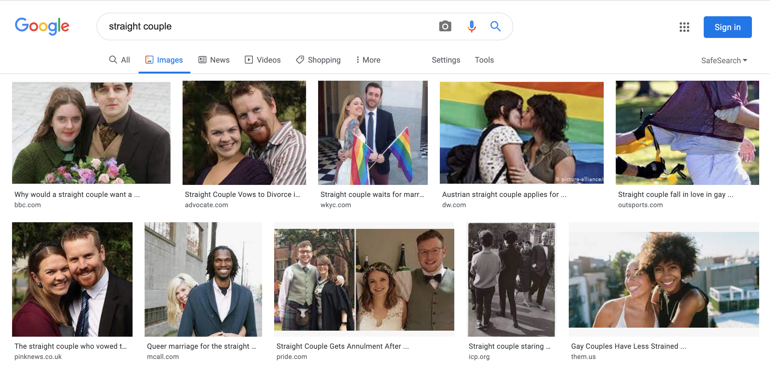 Top two rows of results for a Google image search for the phrase straight couple