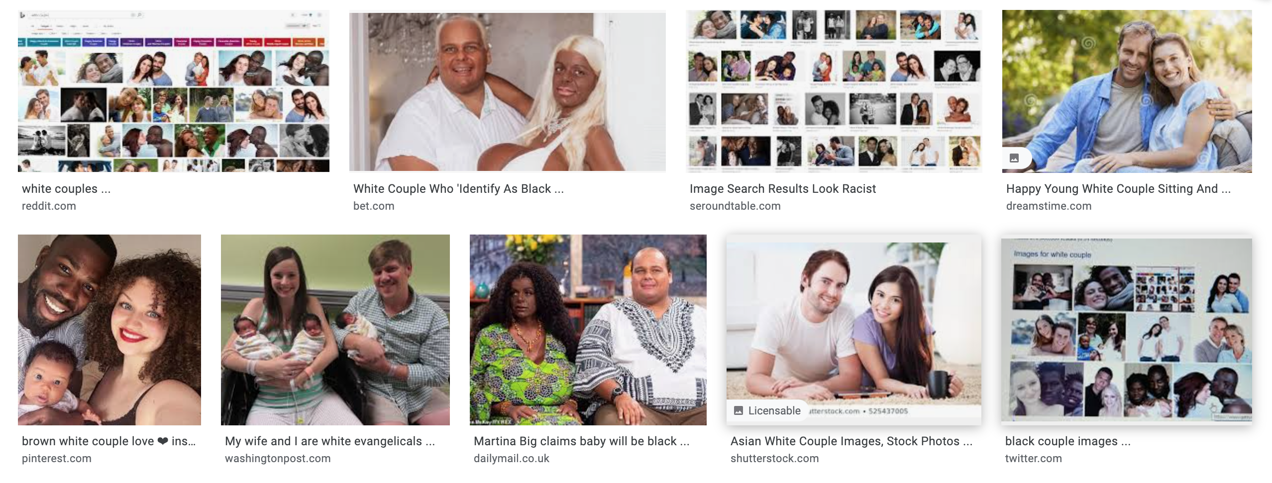 Top two rows of results for a Google image search for the phrase white couple