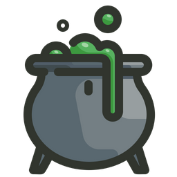 Graphic of a cauldron with a green liquid bubbling out of it