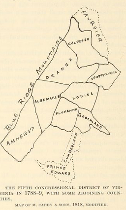 Map of Virginia's fifth district in 1788.