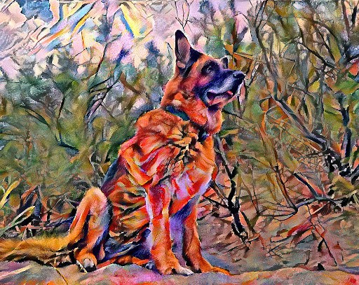 german shepherd with composition 7 style
