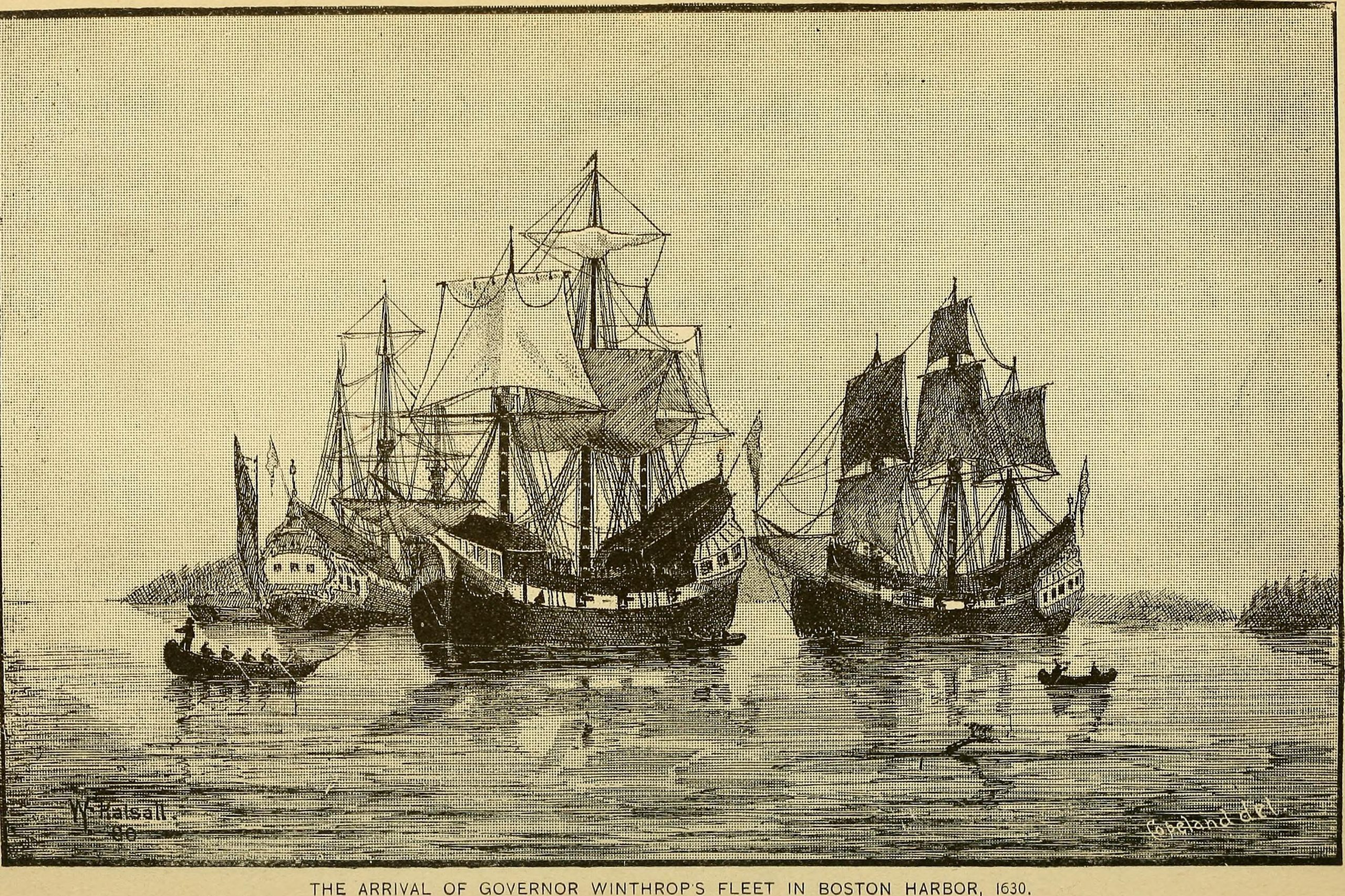 Engraving shows boats coming into harbor, reading THE ARRIVAL OF GOVERNOR WINTHROPS FLEET IN BOSTON HARBOR, 1630