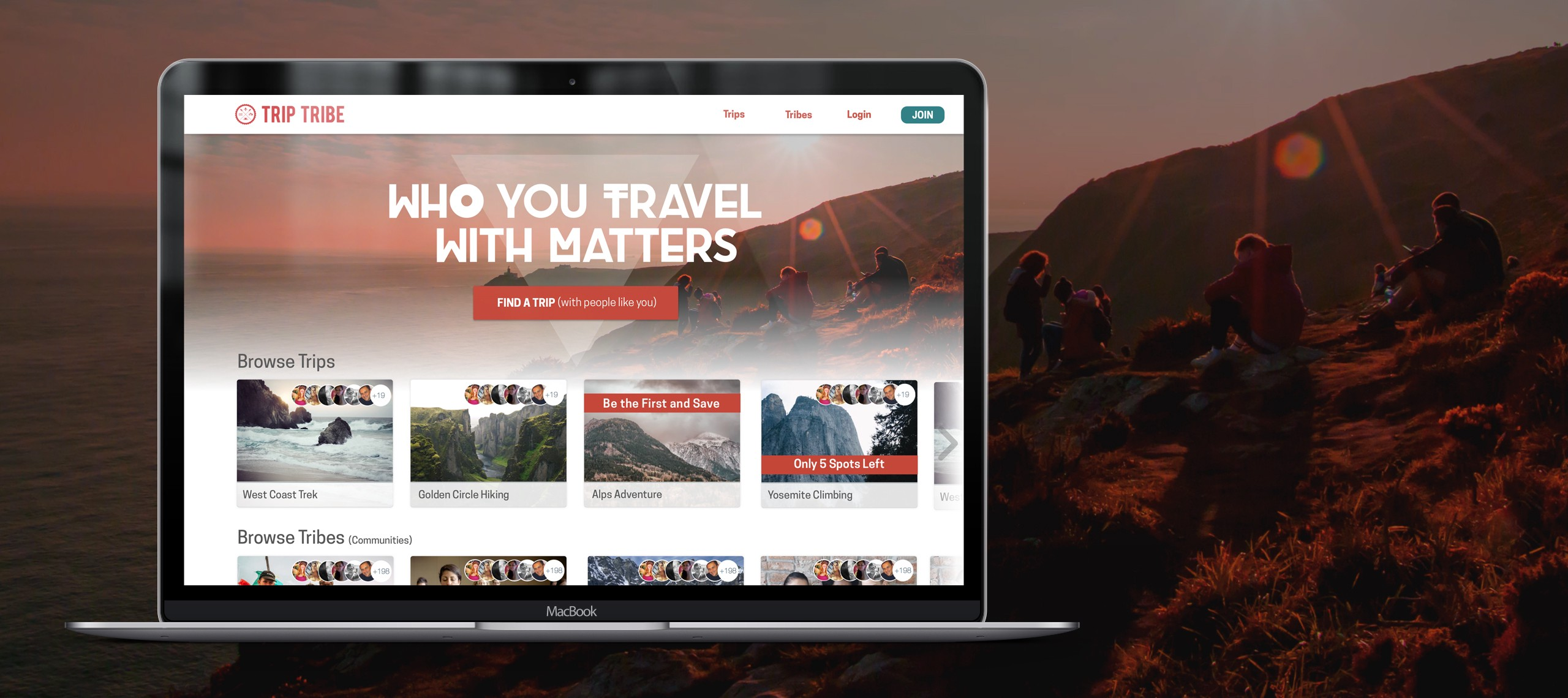 Trip Tribe travel website partial redesign — a UX case study