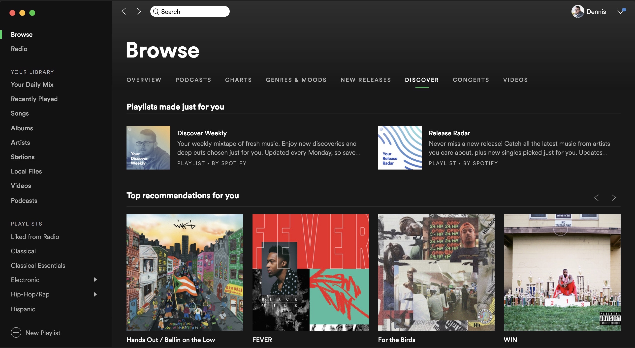 Browse view of Spotify