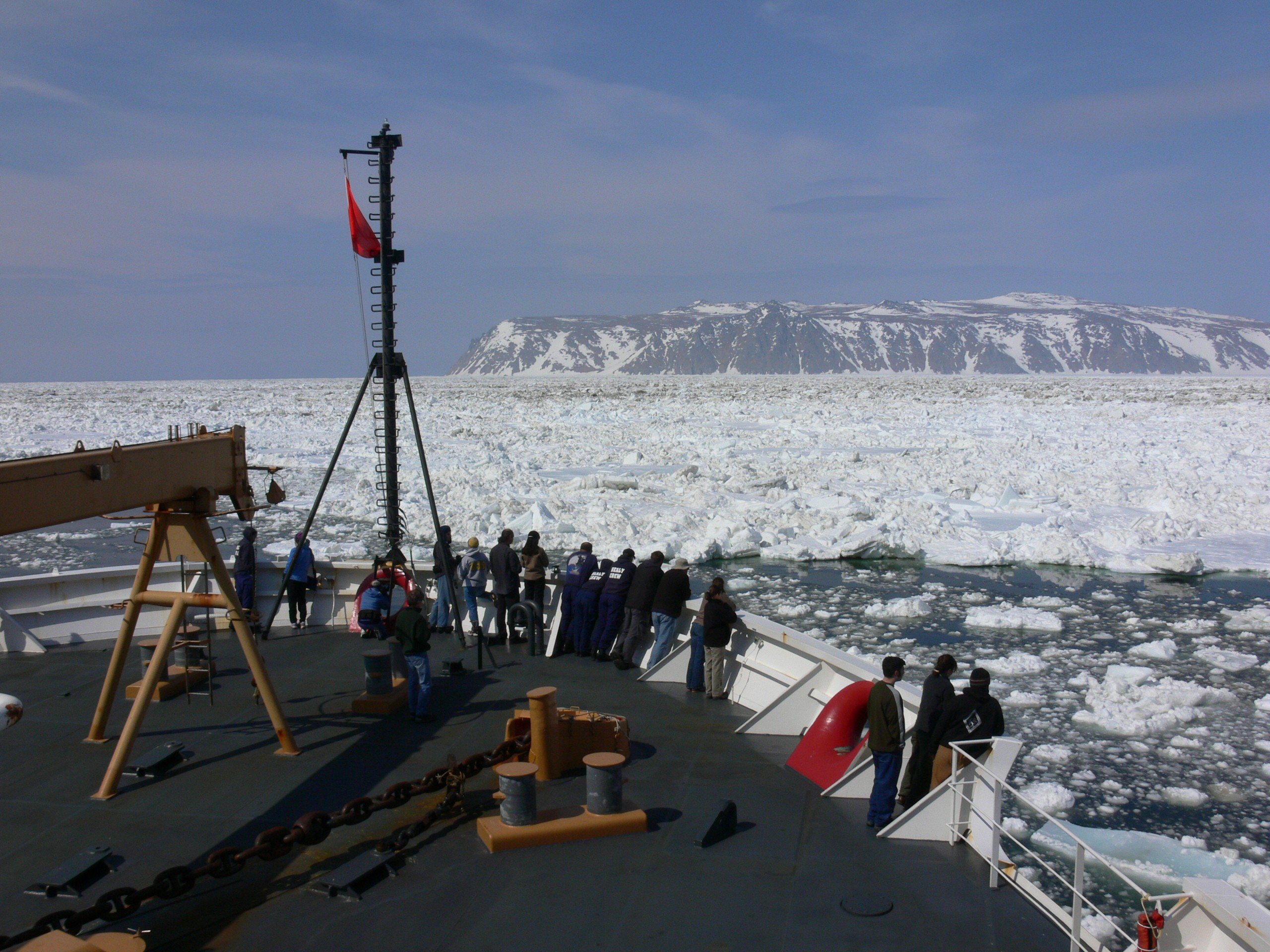 view of bering strait from aboard a research vessel