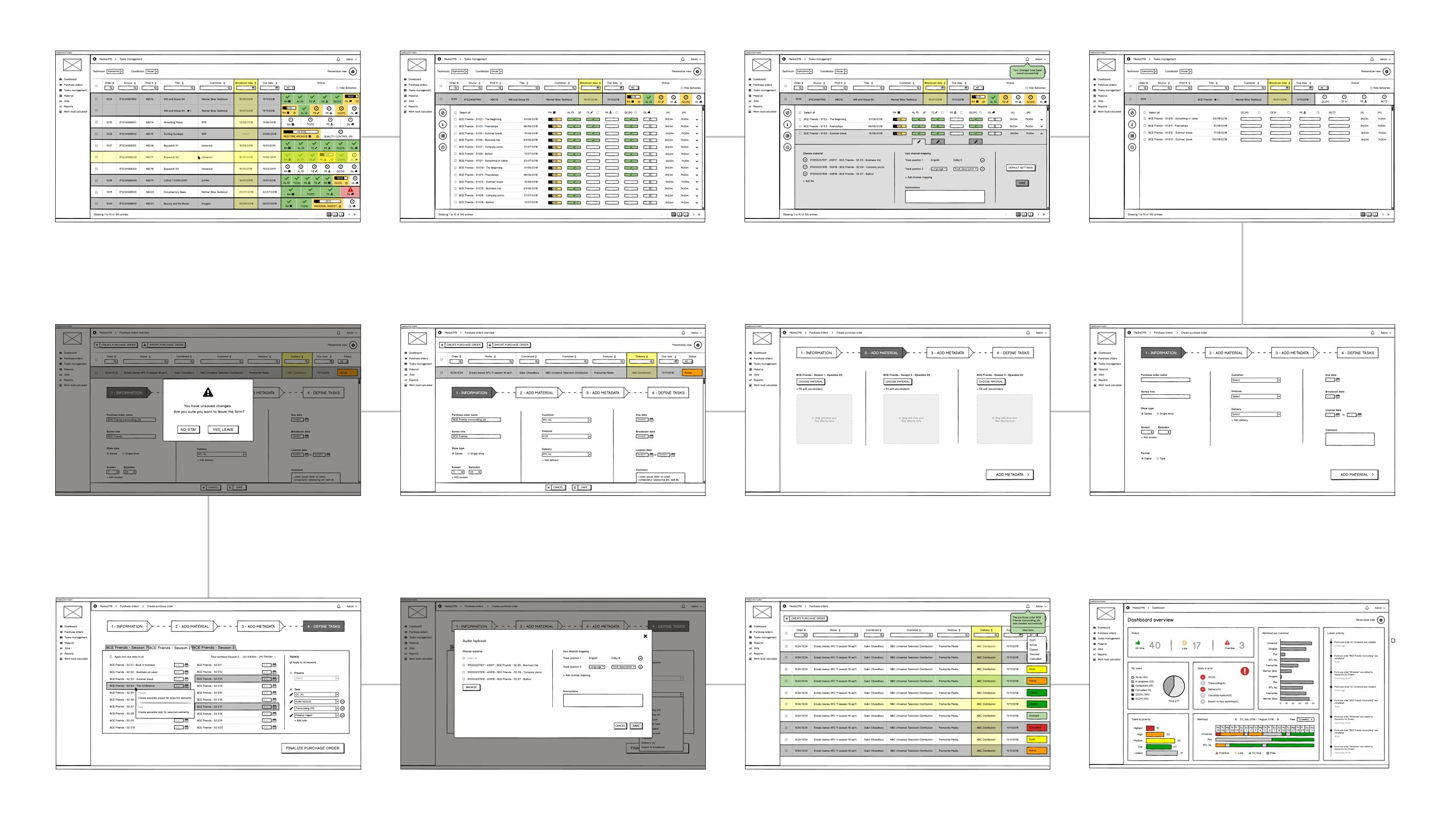 A sequence of screens demonstrating a use case based on the user flow diagram