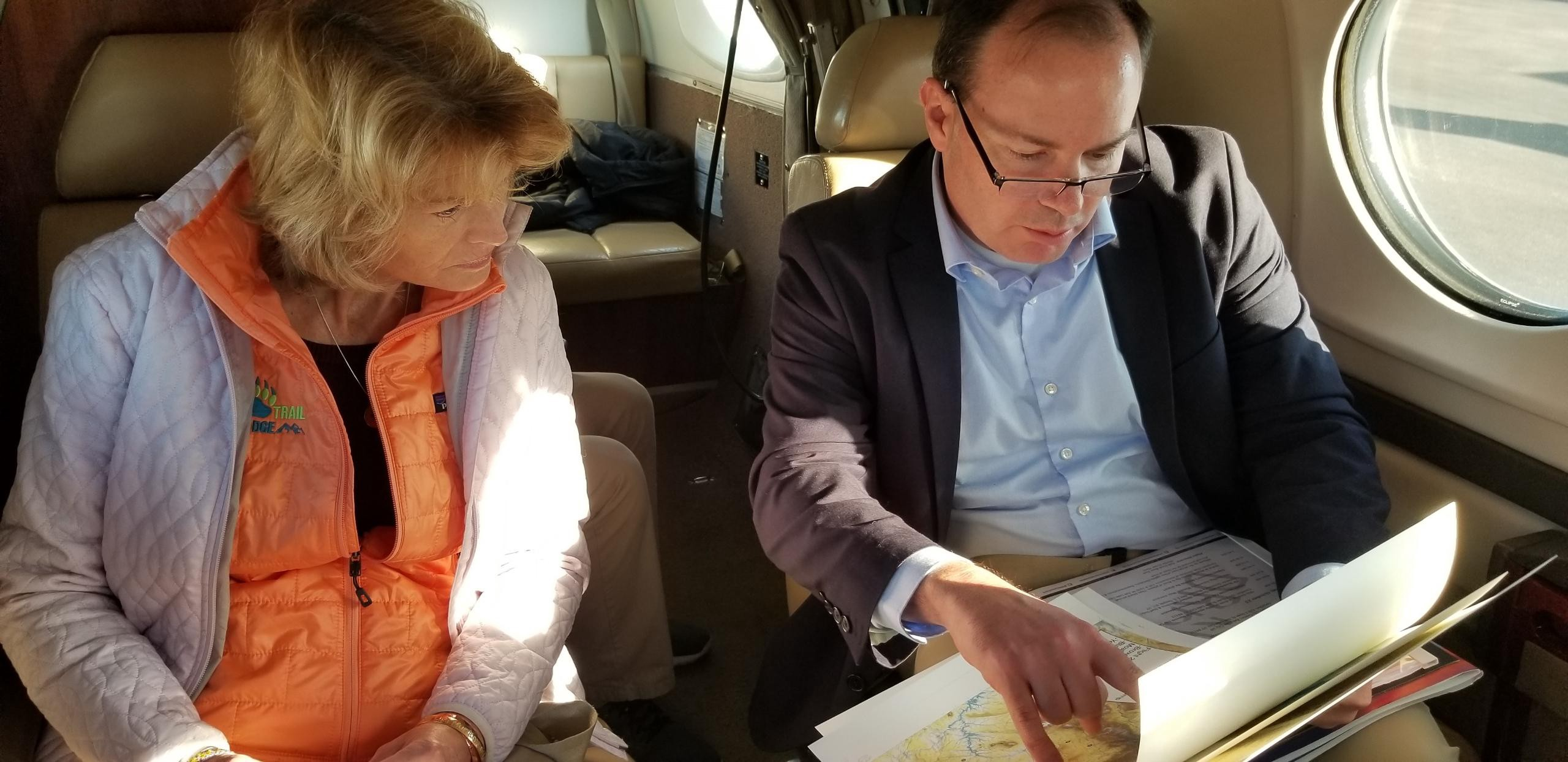 Discussing Utah's public lands with my colleague Senator Murkowski on our way to Moab, UT