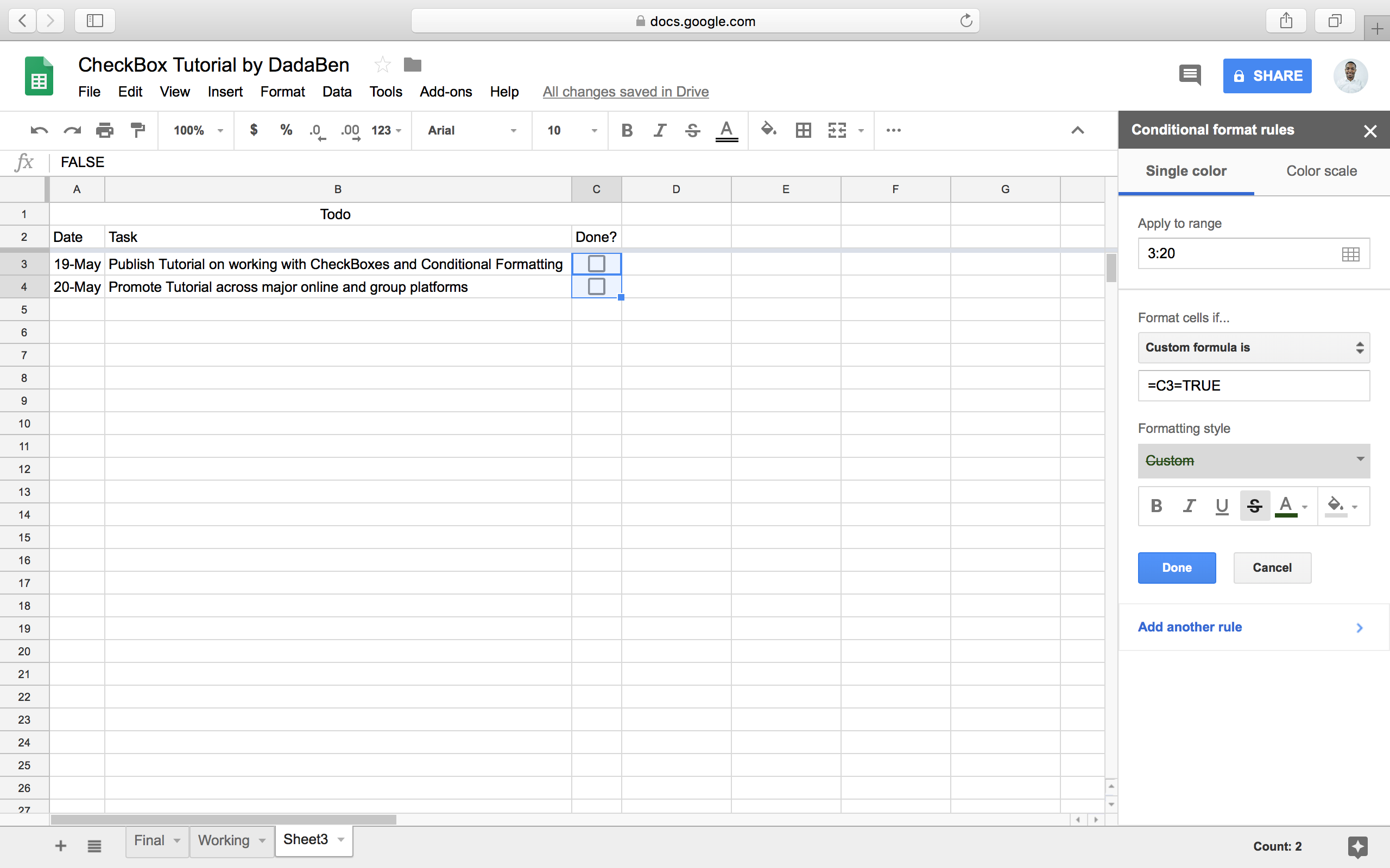 Tutorial: How to build your own beautiful ToDo list Sheet
