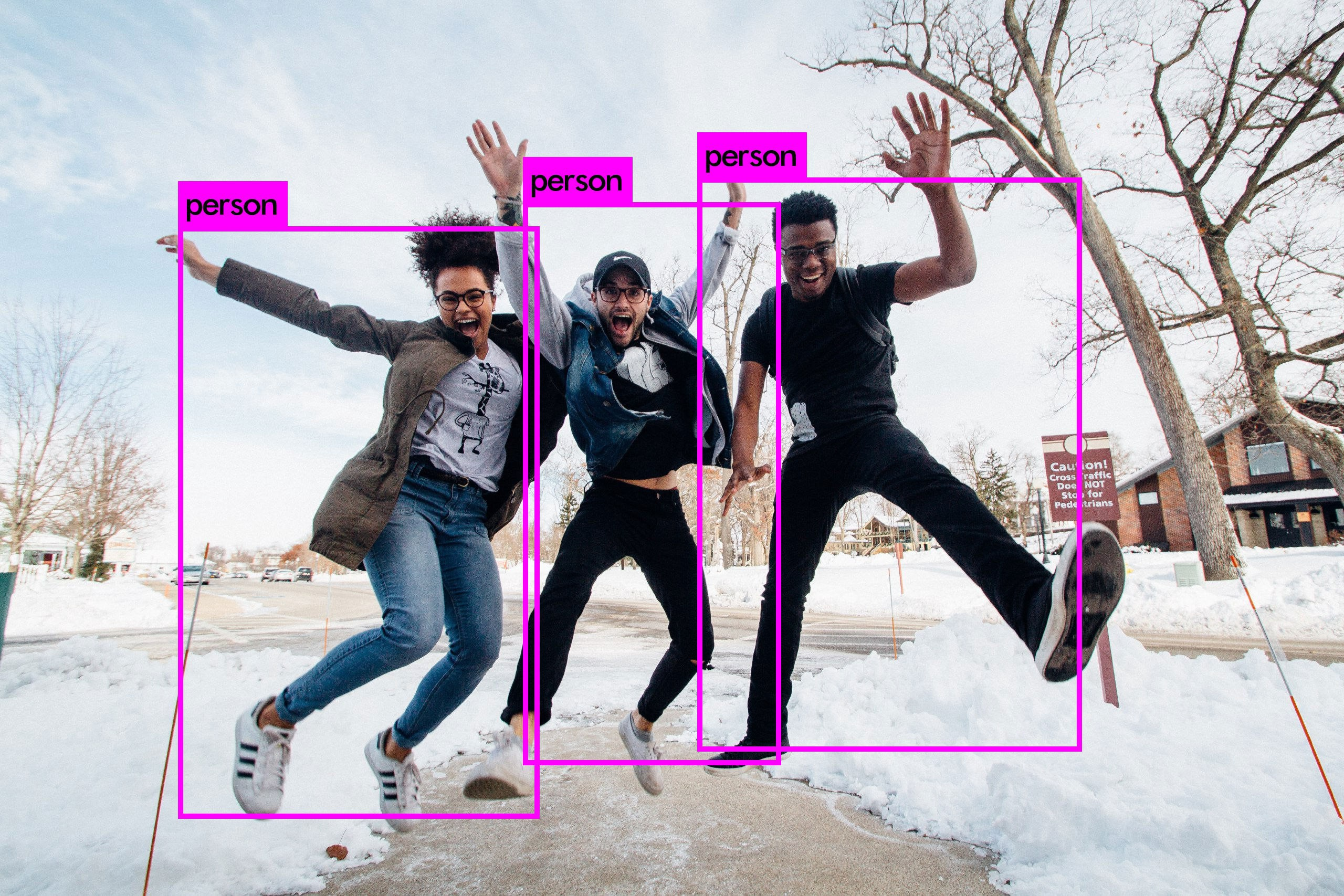 Object recognition over people jumping