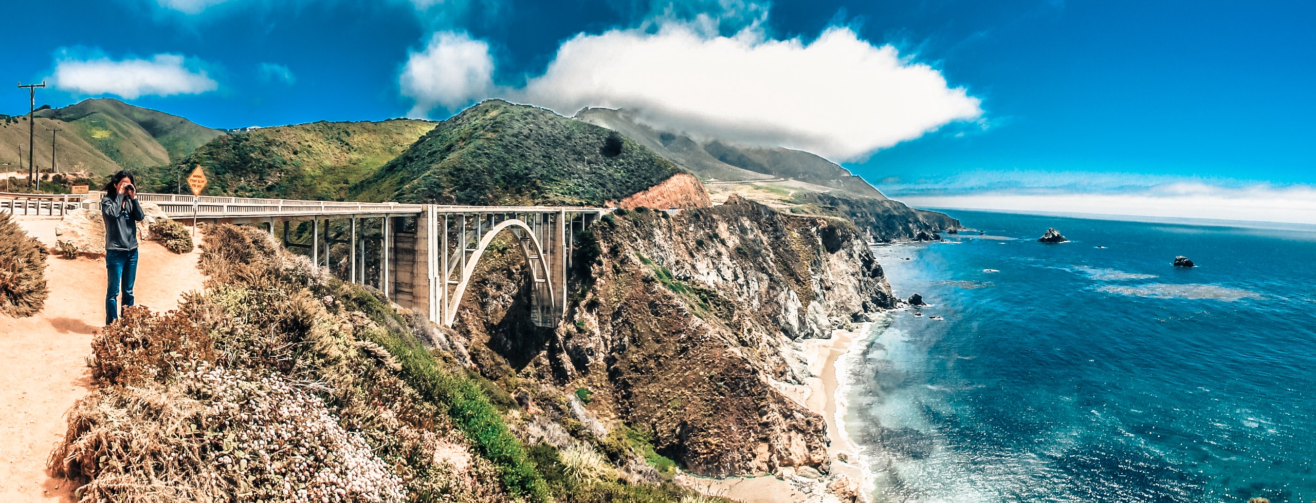 Man looks out over Pacific Ocean with dramatic Bixby Bridge behind.