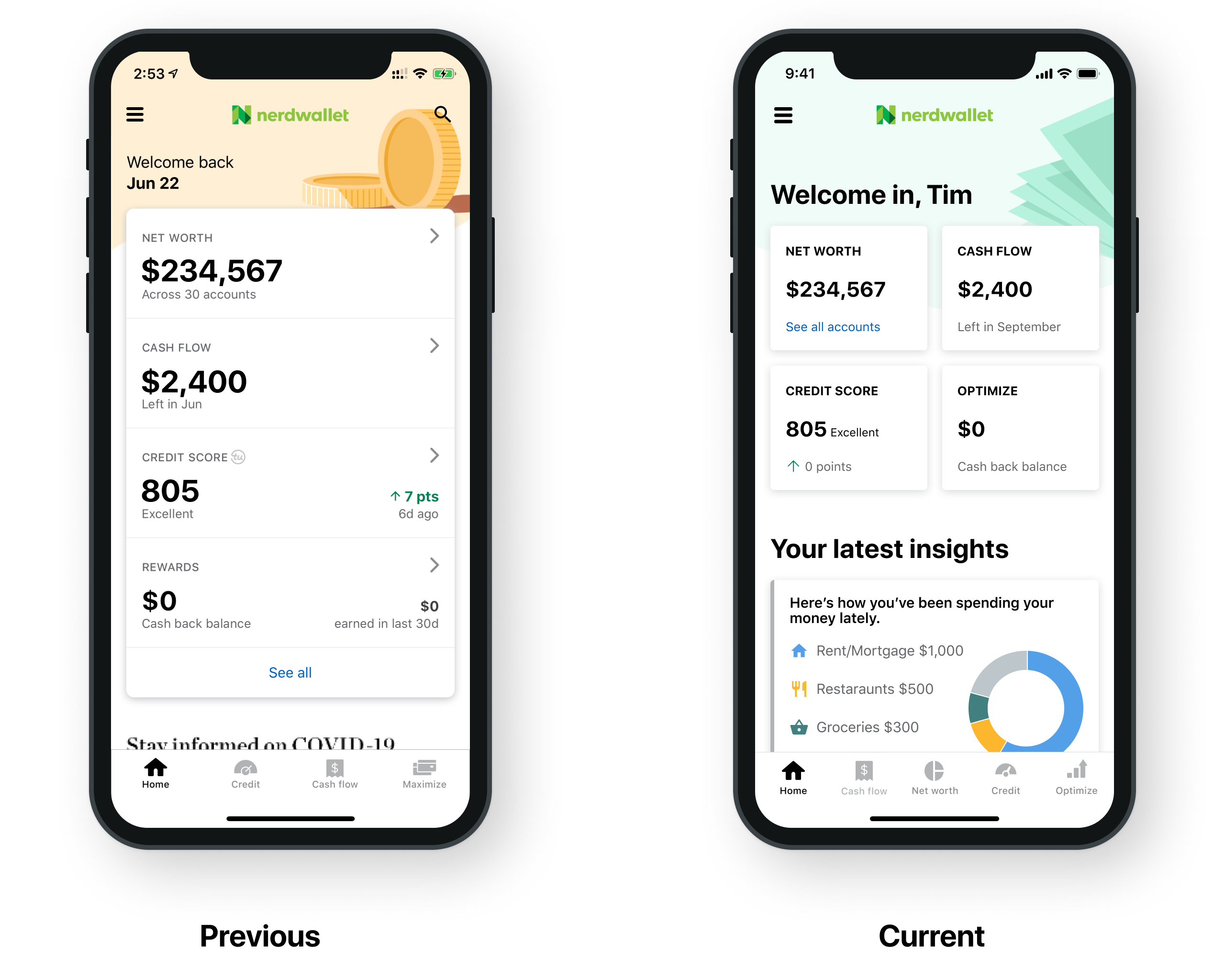 """Two screenshots, showing the app's home screen before and after the redesign. Before, information is stacked vertically and the only things """"above the fold"""" are the user's top financial numbers. After, the information is displayed more compactly so there's additional space for a section called """"Your latest insights."""""""