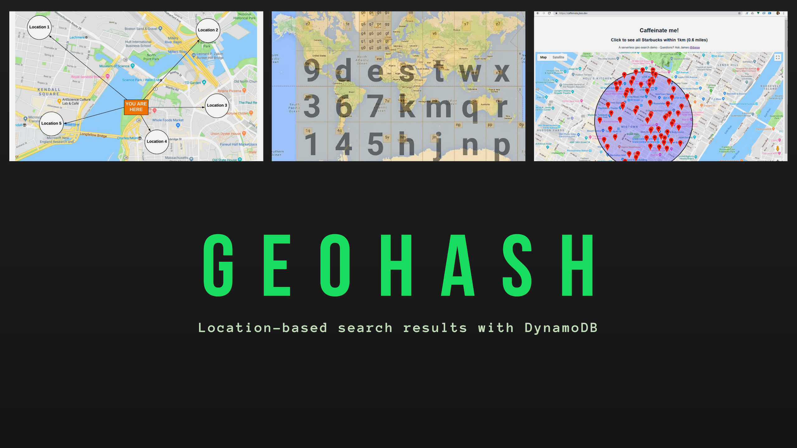 Location-based search results with DynamoDB and Geohash