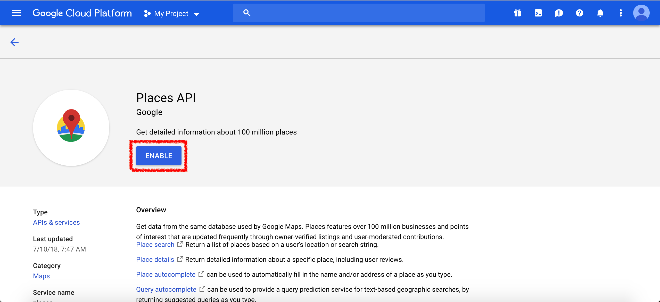 Android Google Maps Simple Usage — Google Places API