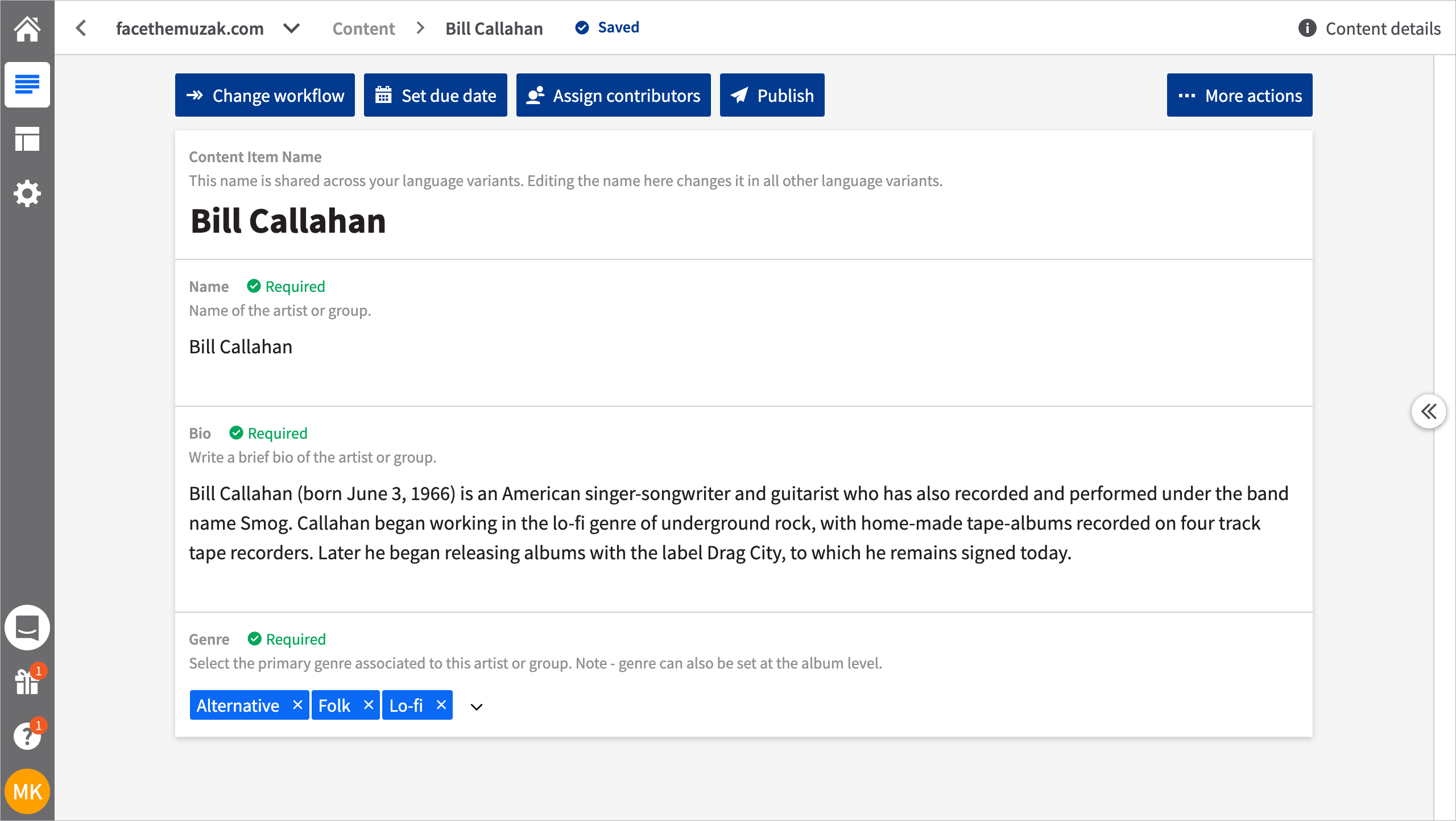 Screenshot of the editing UI for a content item that uses the artist content type. Example is Bill Callahan.
