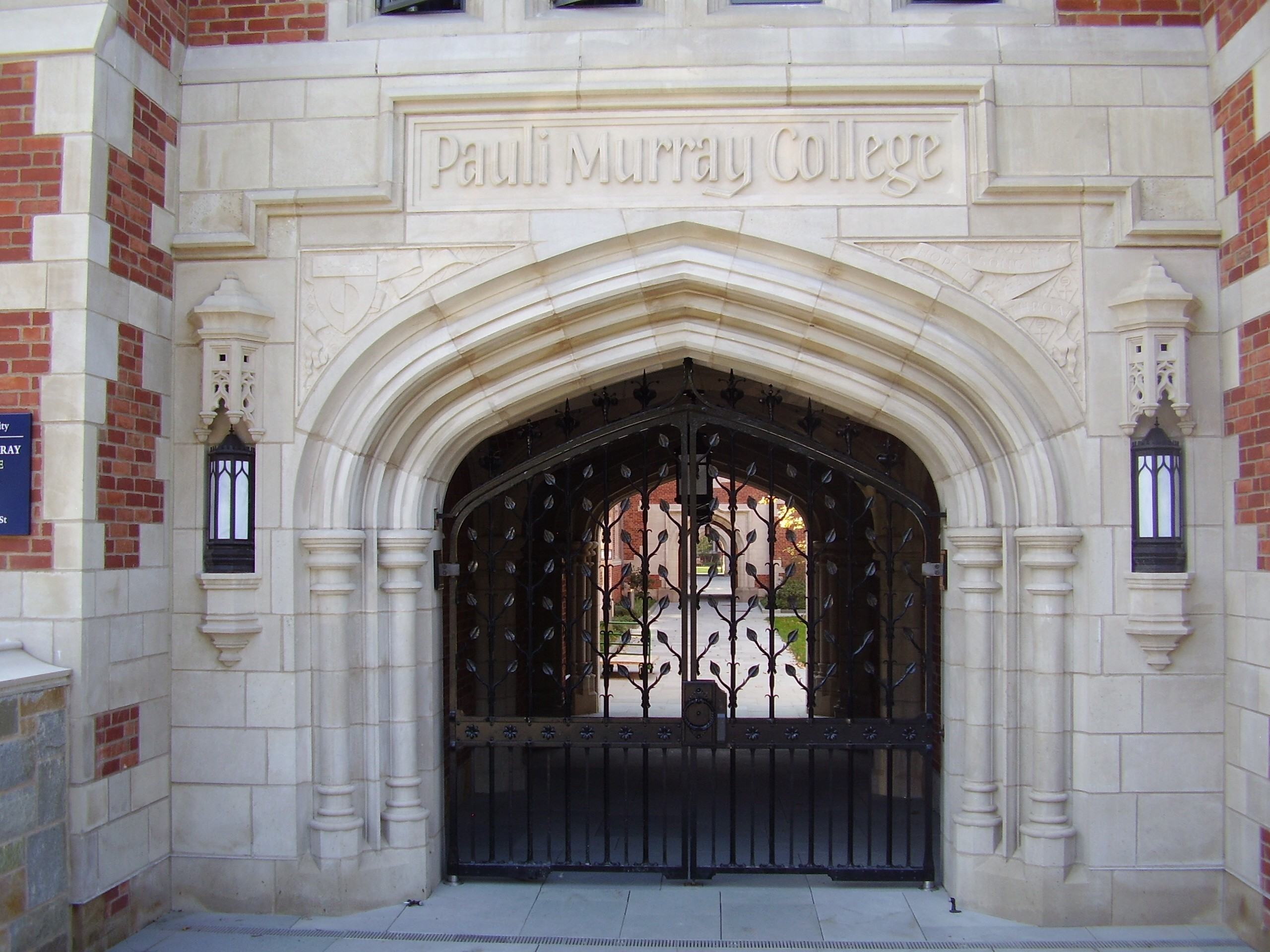 The gate of Pauli Murray College at Yale University.