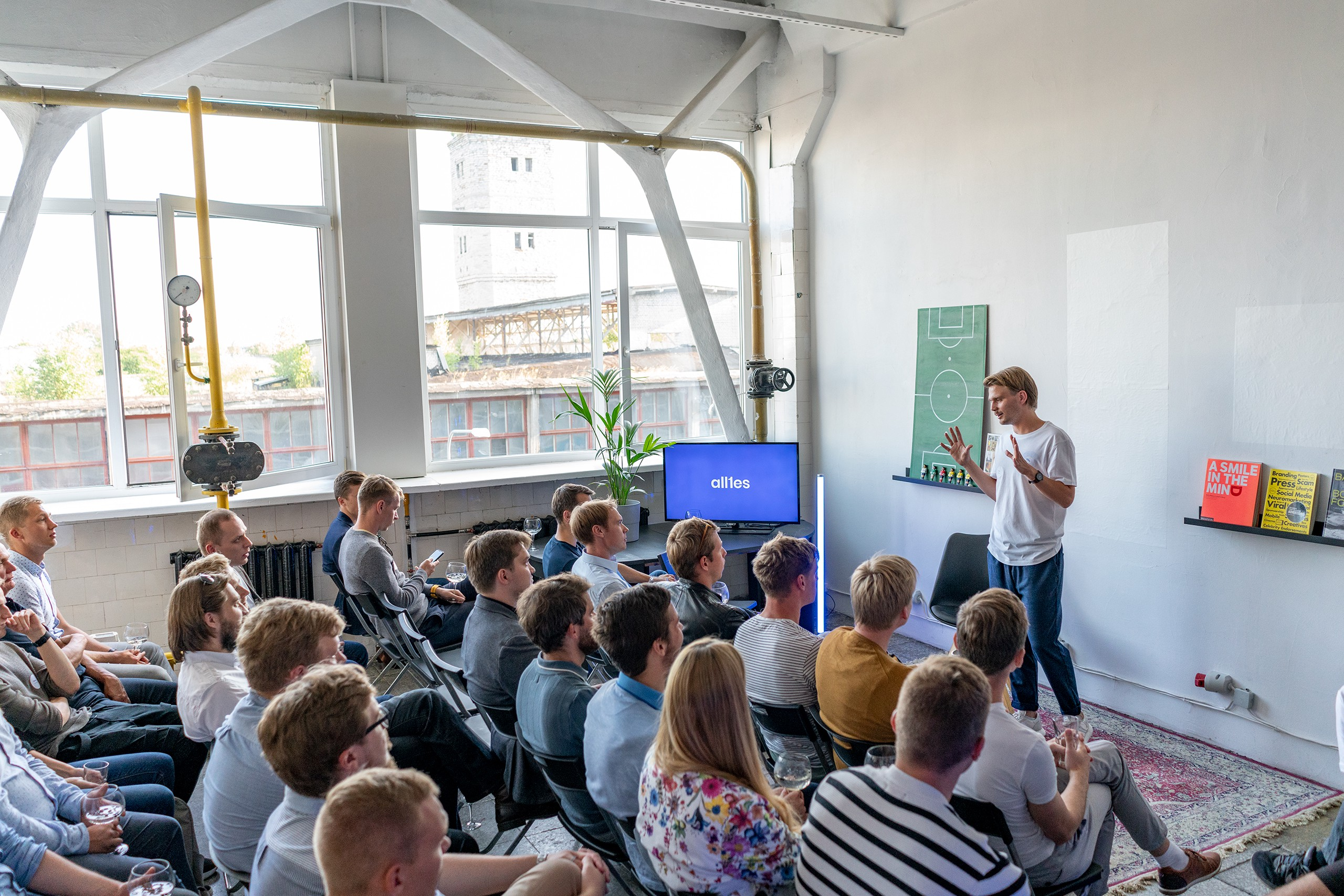 Allies Ecosystem Meetup — Priit Pavelson, CEO of allies.digital (standing) — key note at Allies developer ecosystem meetup