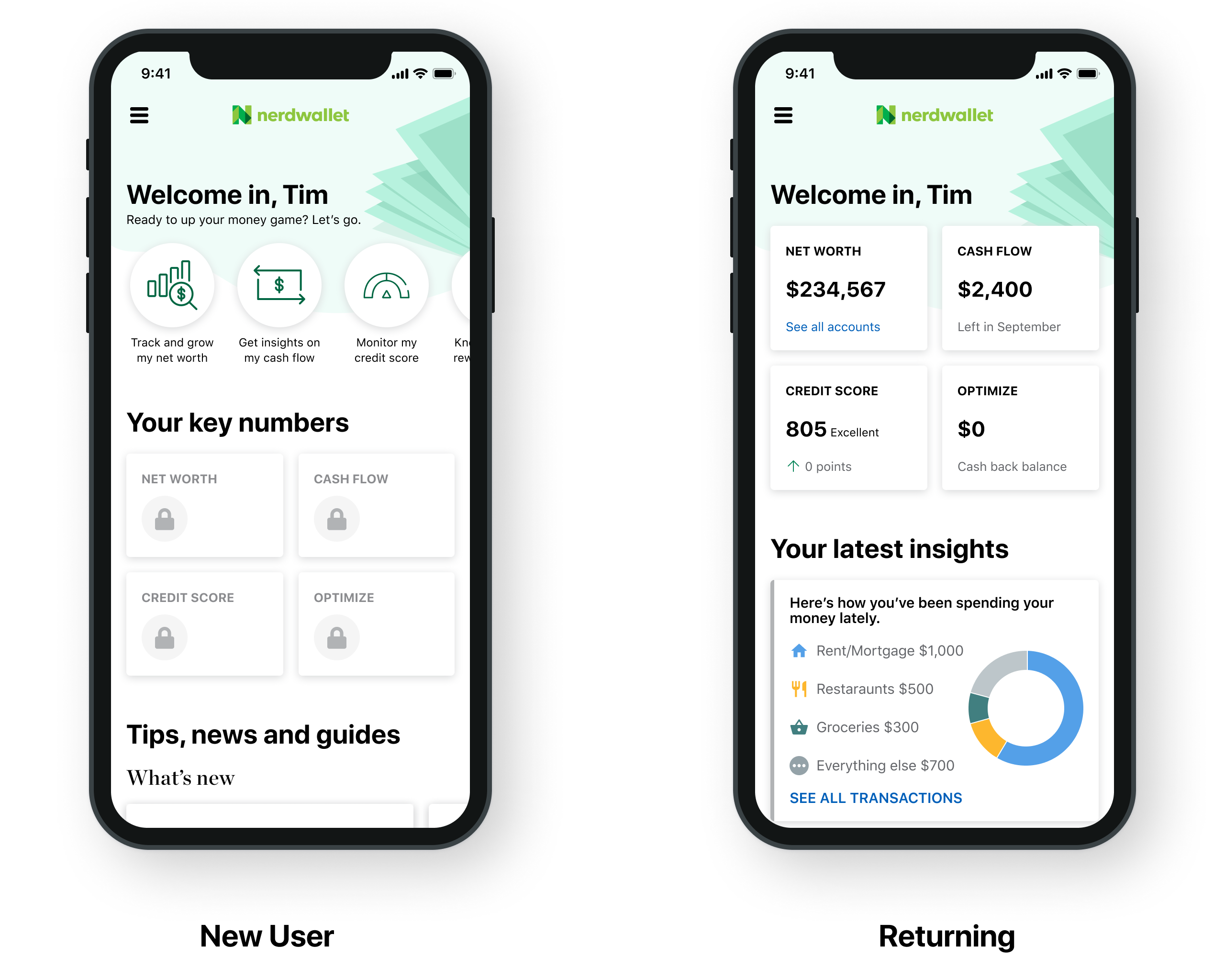 Two screenshots, showing how the redesign looks for a new user and a returning user. In the former, the activation entrypoints are more prominent. In the latter, the primary focus is the user's top financial numbers.