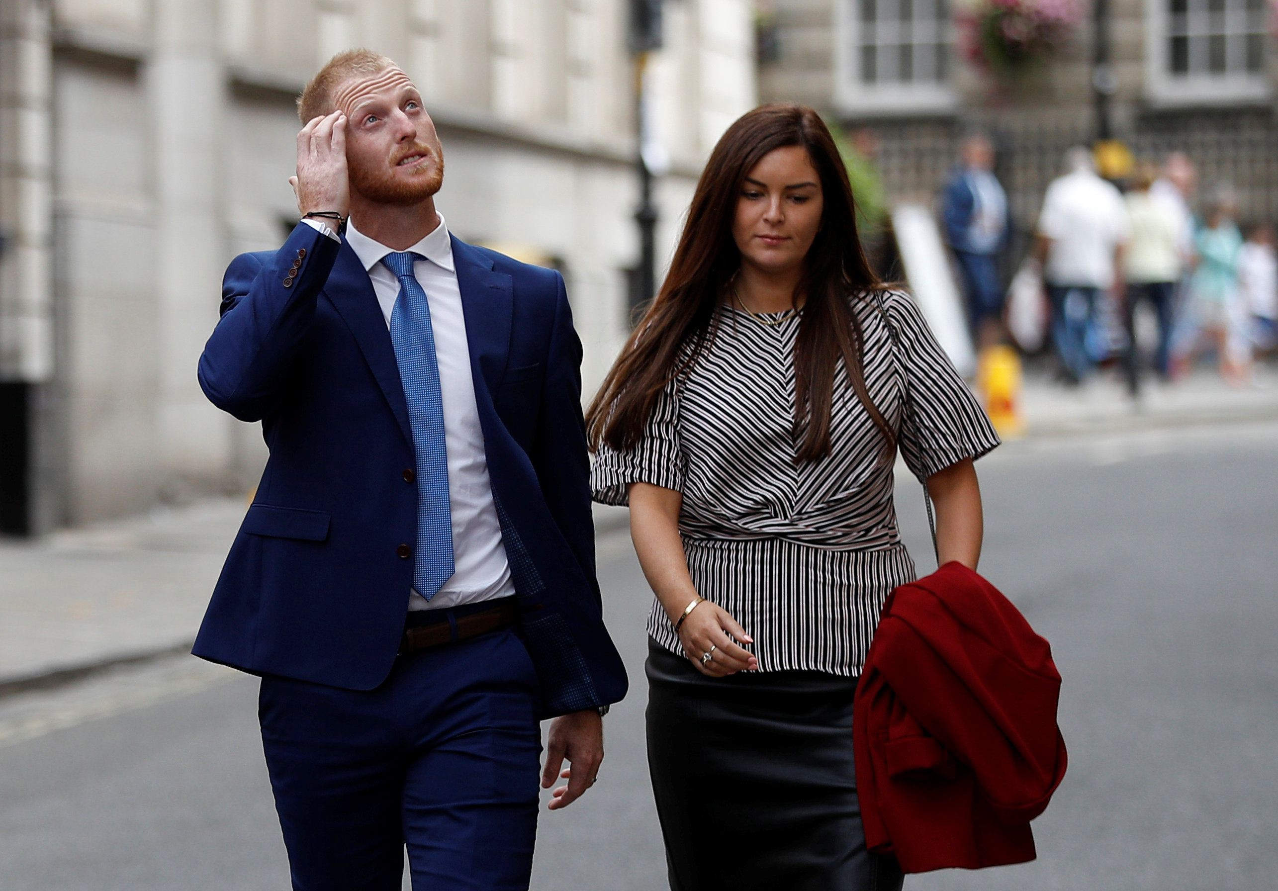 Cricketer Ben Stokes, charged for affray, arriving at court with his wife.