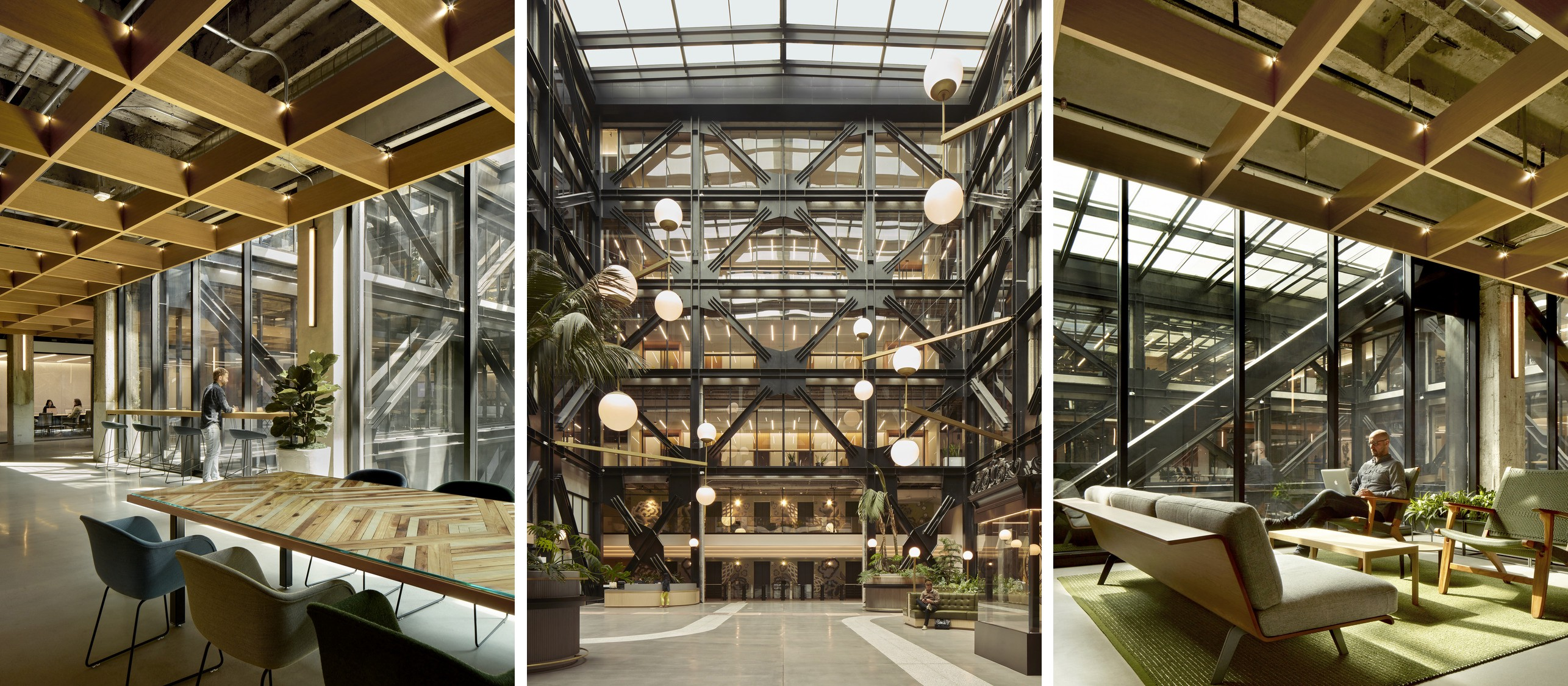 Work environments overlooking a central atrium