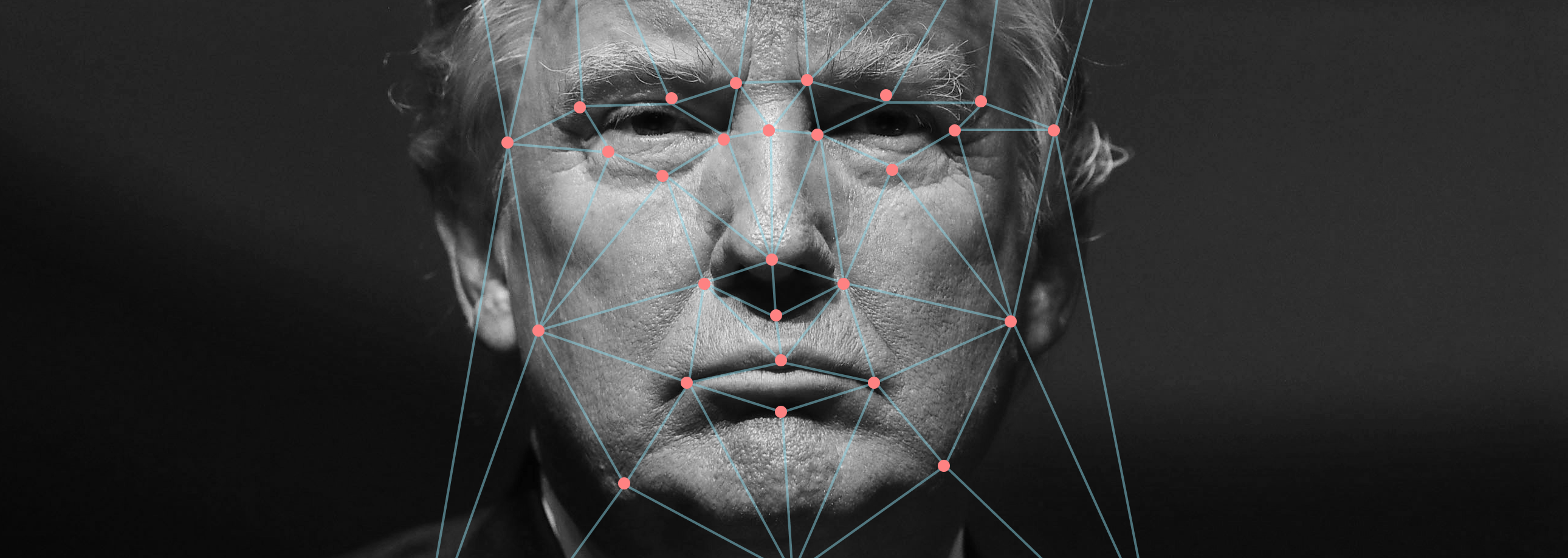 Close up of Donald Trump's face with analysis pattern applied, to suggest this article is scientific