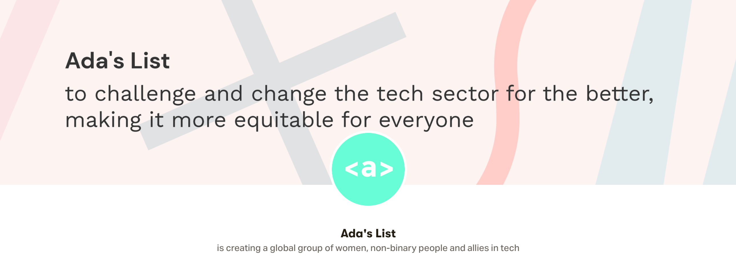An image of the Ada's List Patron page: Ada's List is creating a global group of women, non-binary people, and allies in tech