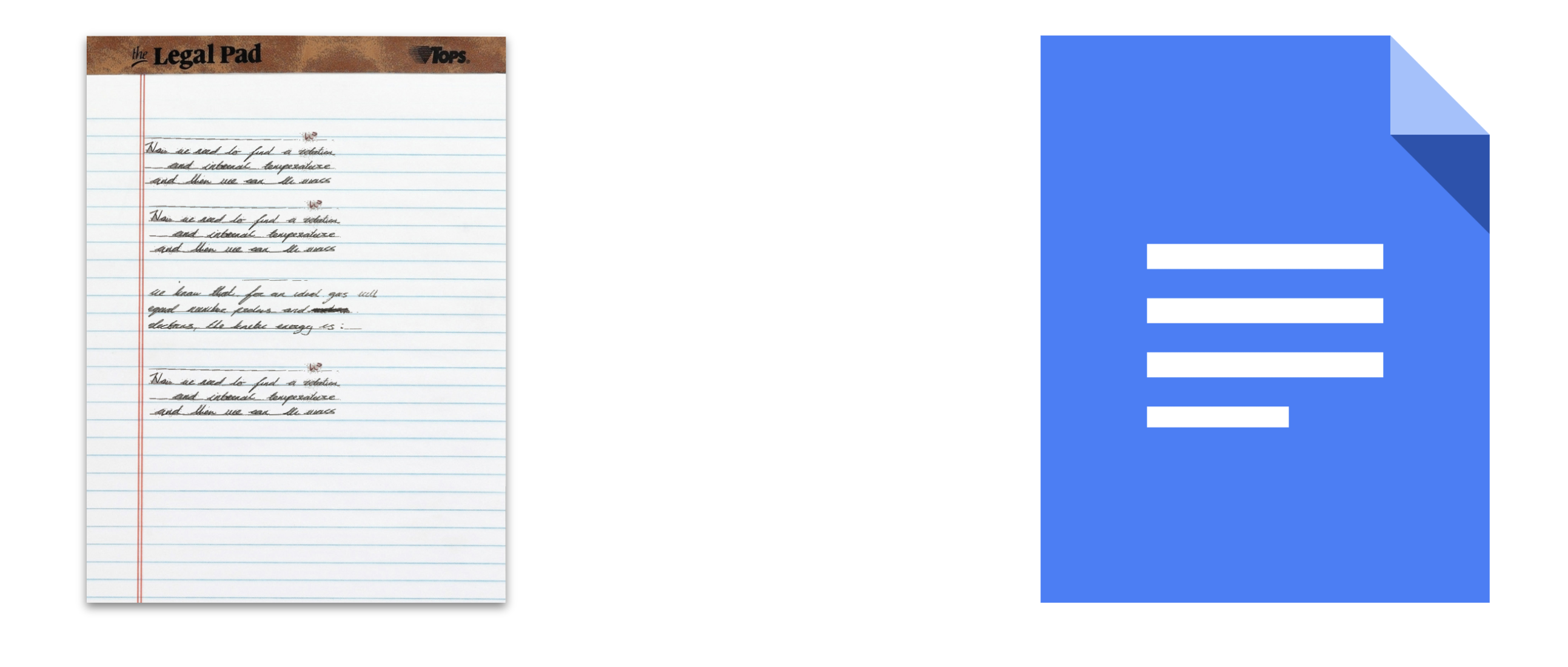 """Two icons depicting a note or document. The left icon is visually skeuomorphic, trying to look like a physical notepad. The right icon uses """"flat"""" design and does not attempt to mimic the look of paper or binding."""